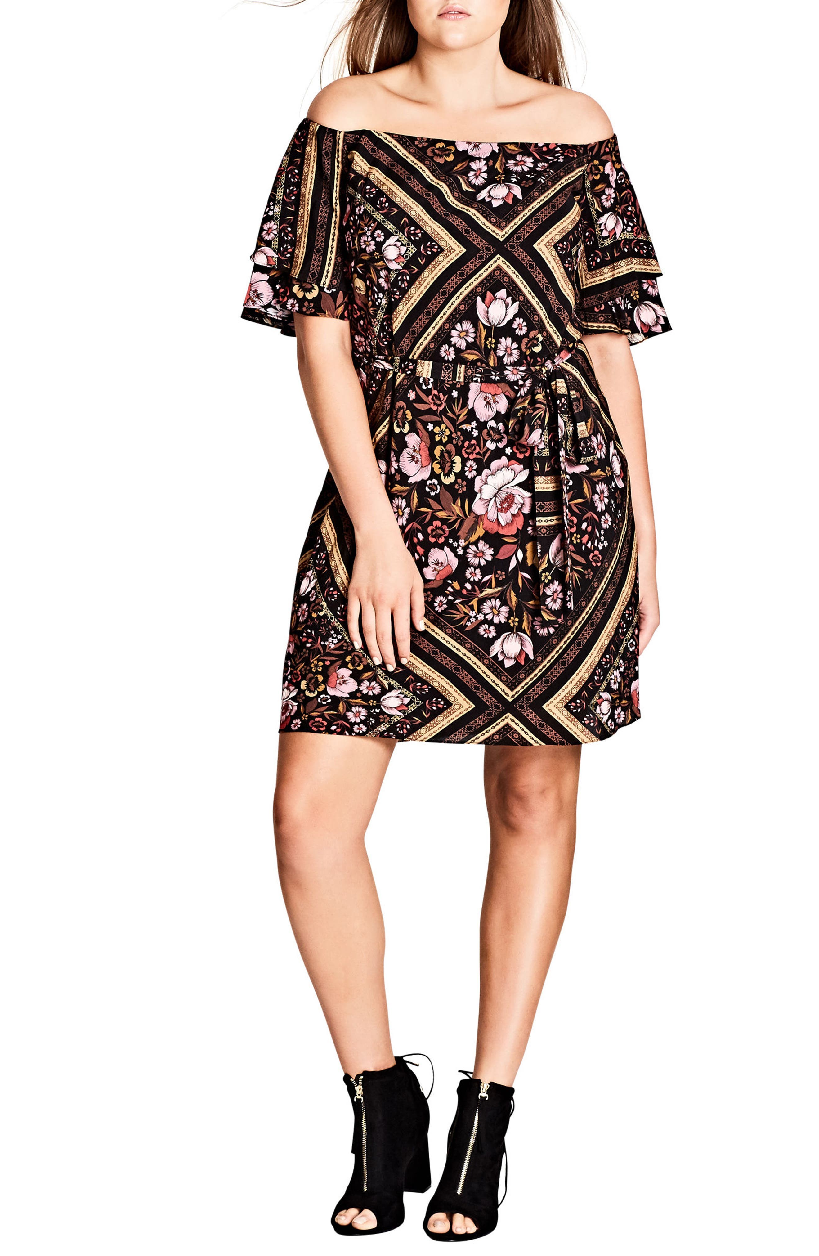 City Chic Rose Scarf Off the Shoulder Tunic (Plus Size)