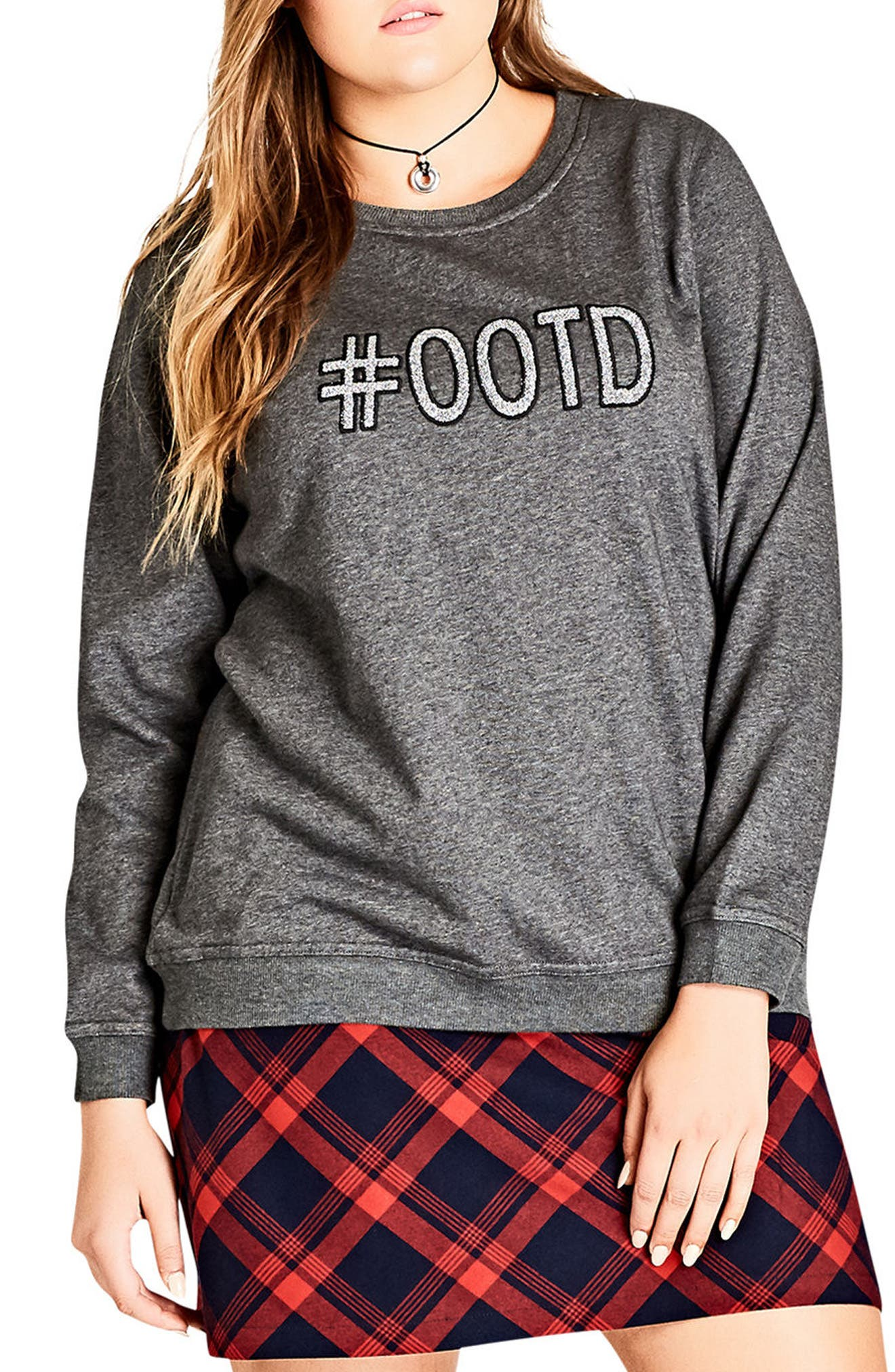 Alternate Image 1 Selected - City Chic #OOTD Sweatshirt (Plus Size)