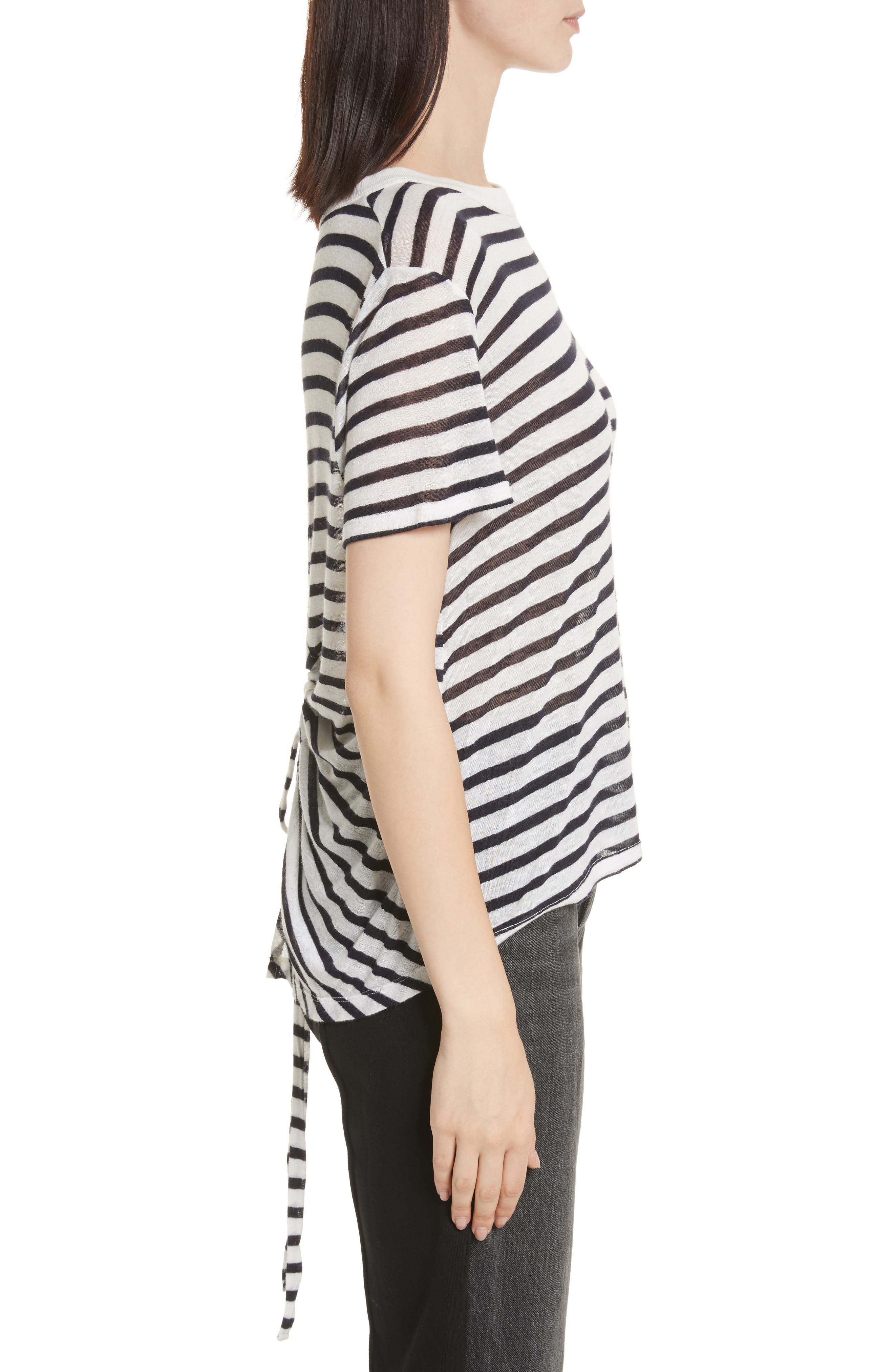 Back Tie Stripe Slub Jersey Tee,                             Alternate thumbnail 3, color,                             Ivory/ Ink Stripe
