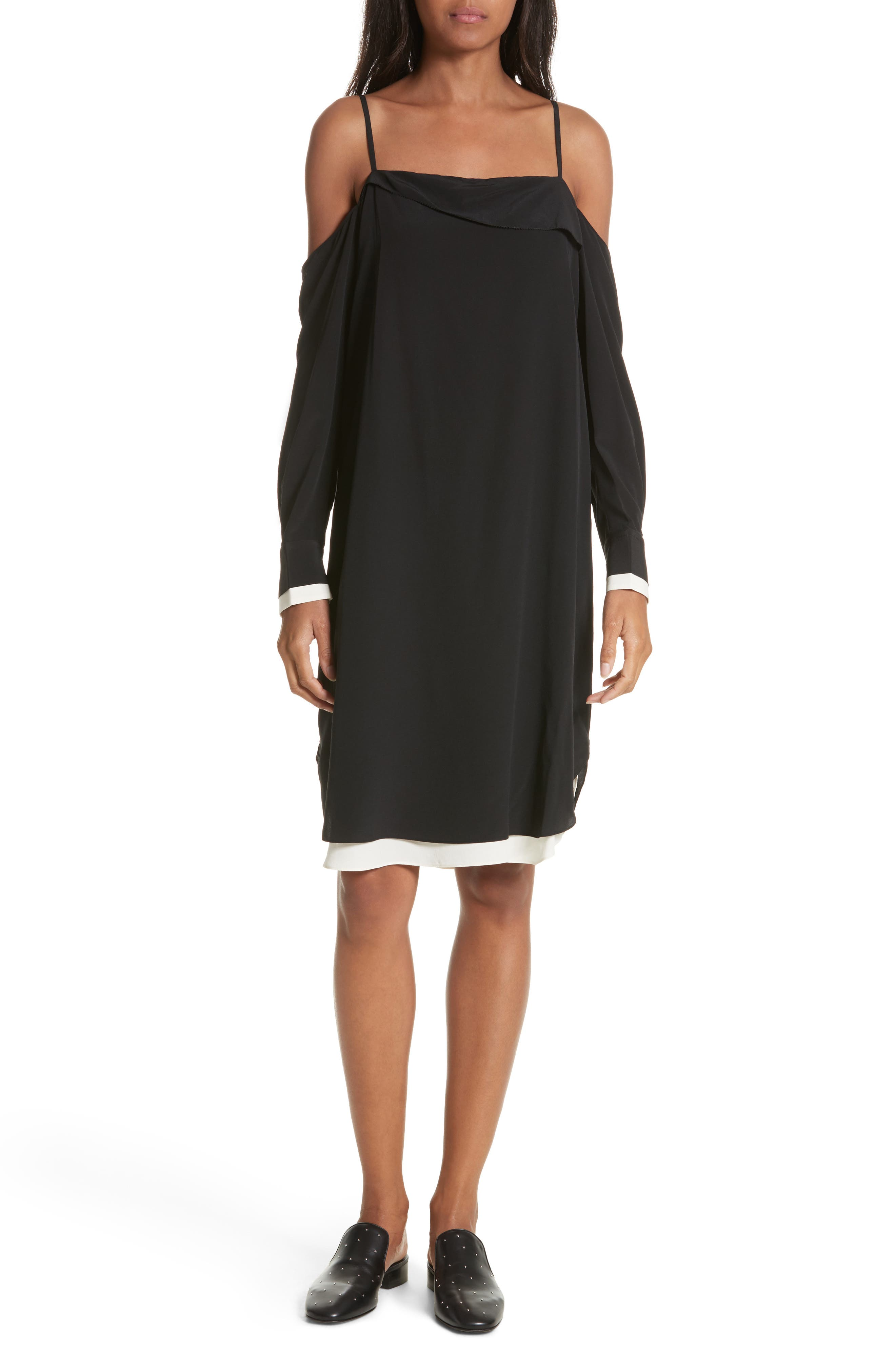 Karley Silk Dress,                         Main,                         color, Black