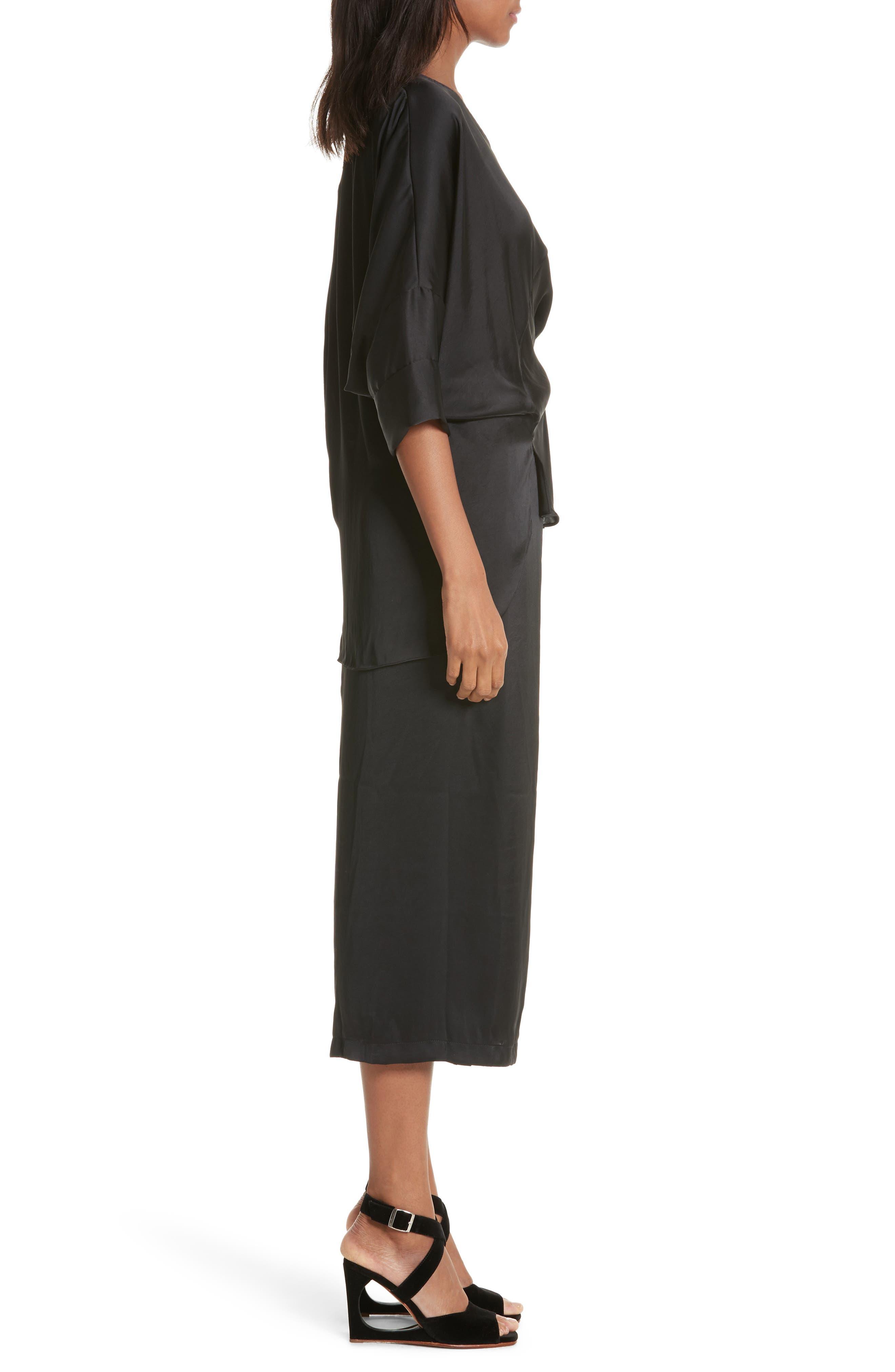 Mure Satin Midi Dress,                             Alternate thumbnail 3, color,                             Black