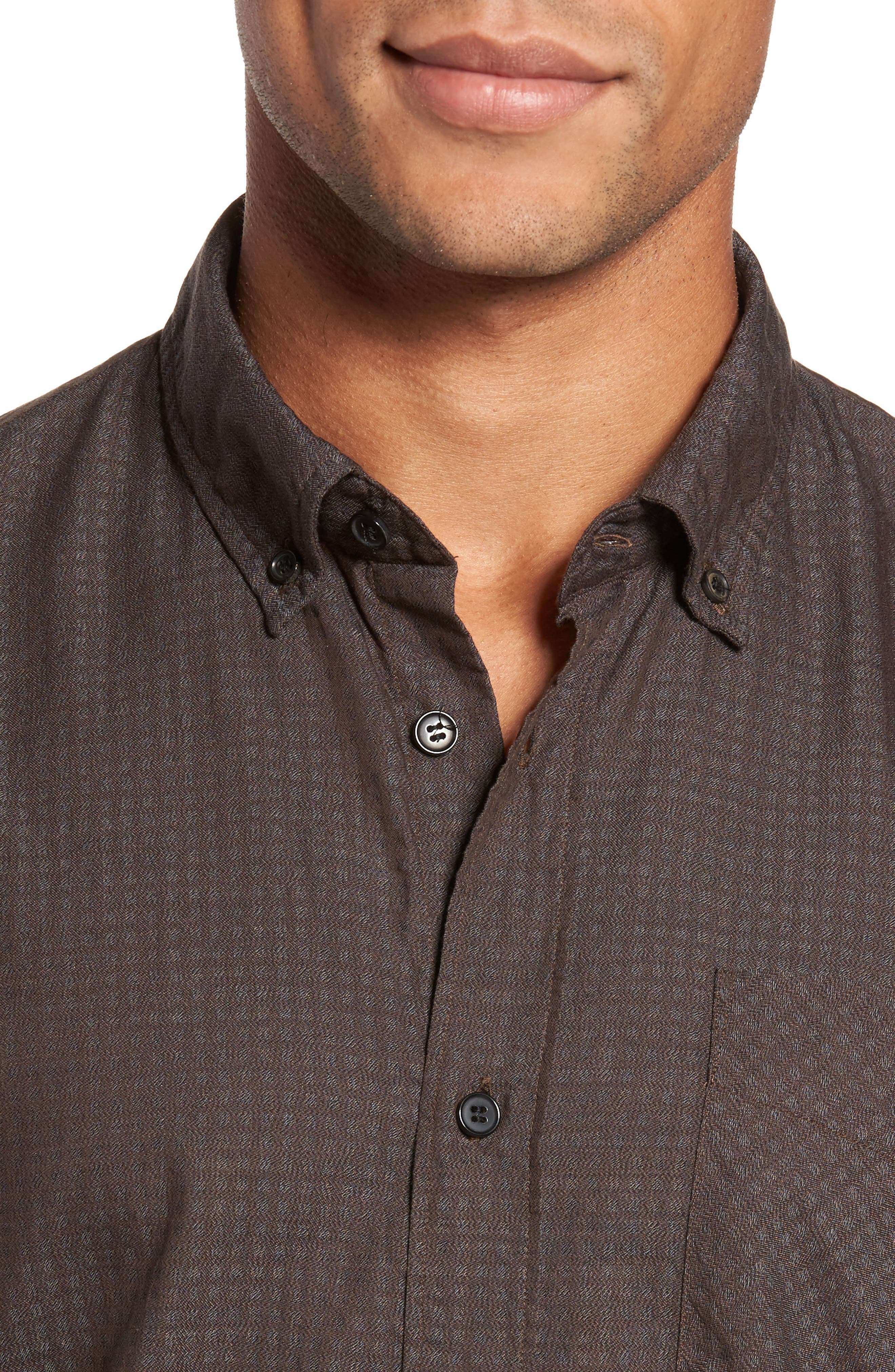 Wallace Slim Fit Sport Shirt,                             Alternate thumbnail 4, color,                             Brown