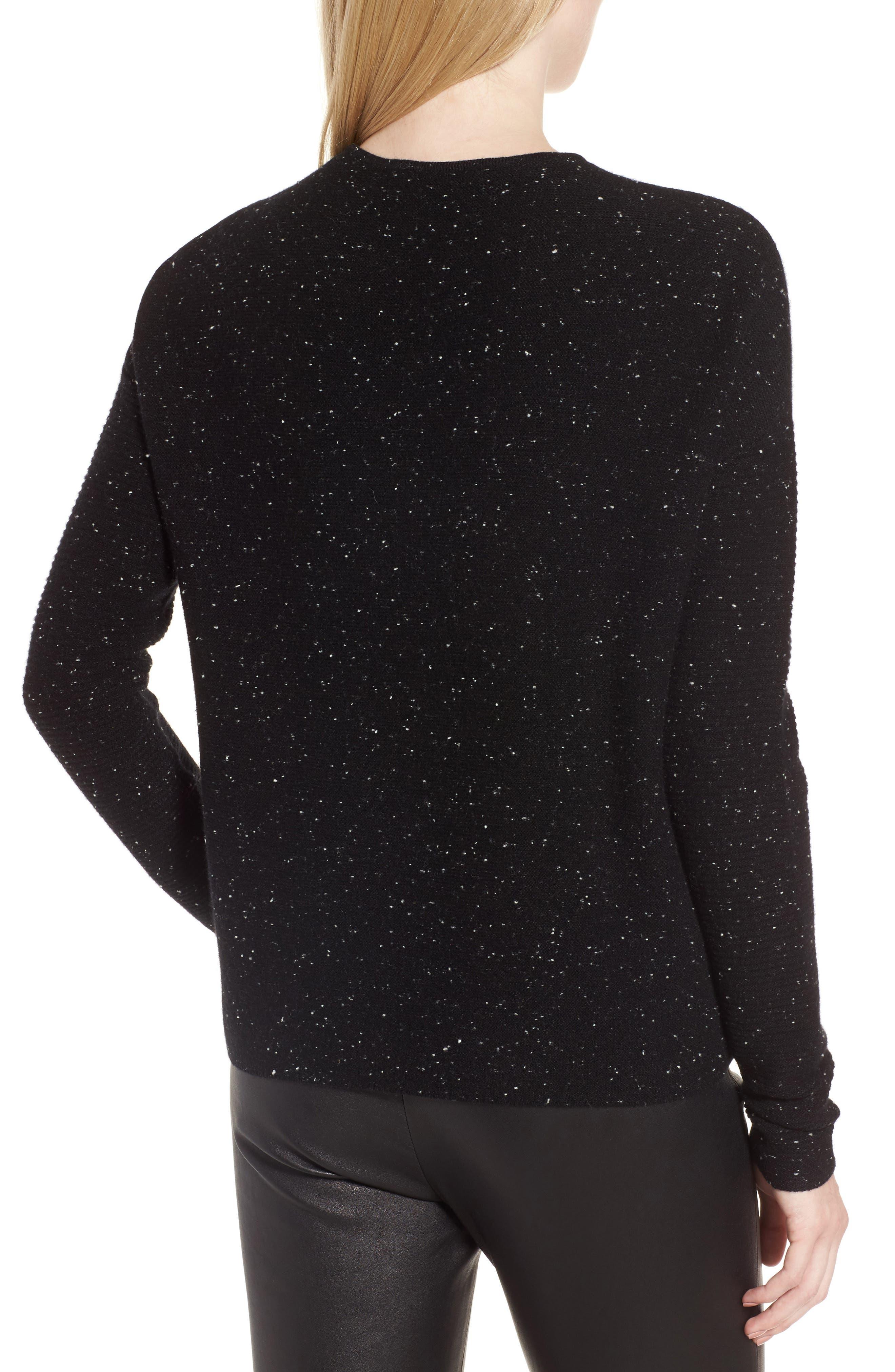 Textured Cashmere V-Neck Sweater,                             Alternate thumbnail 2, color,                             Black Tweed