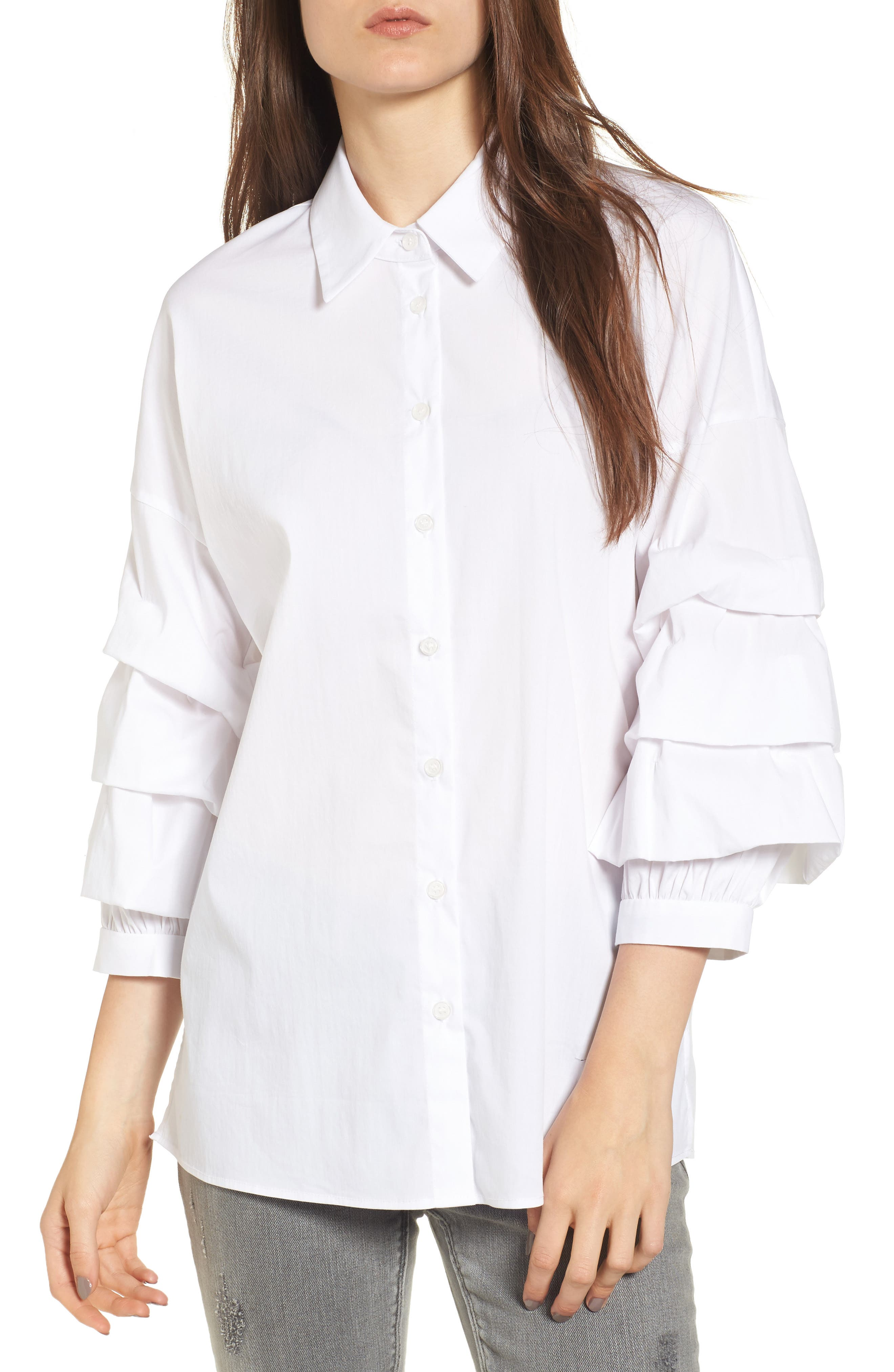 Ruched Sleeve Shirt,                         Main,                         color, White