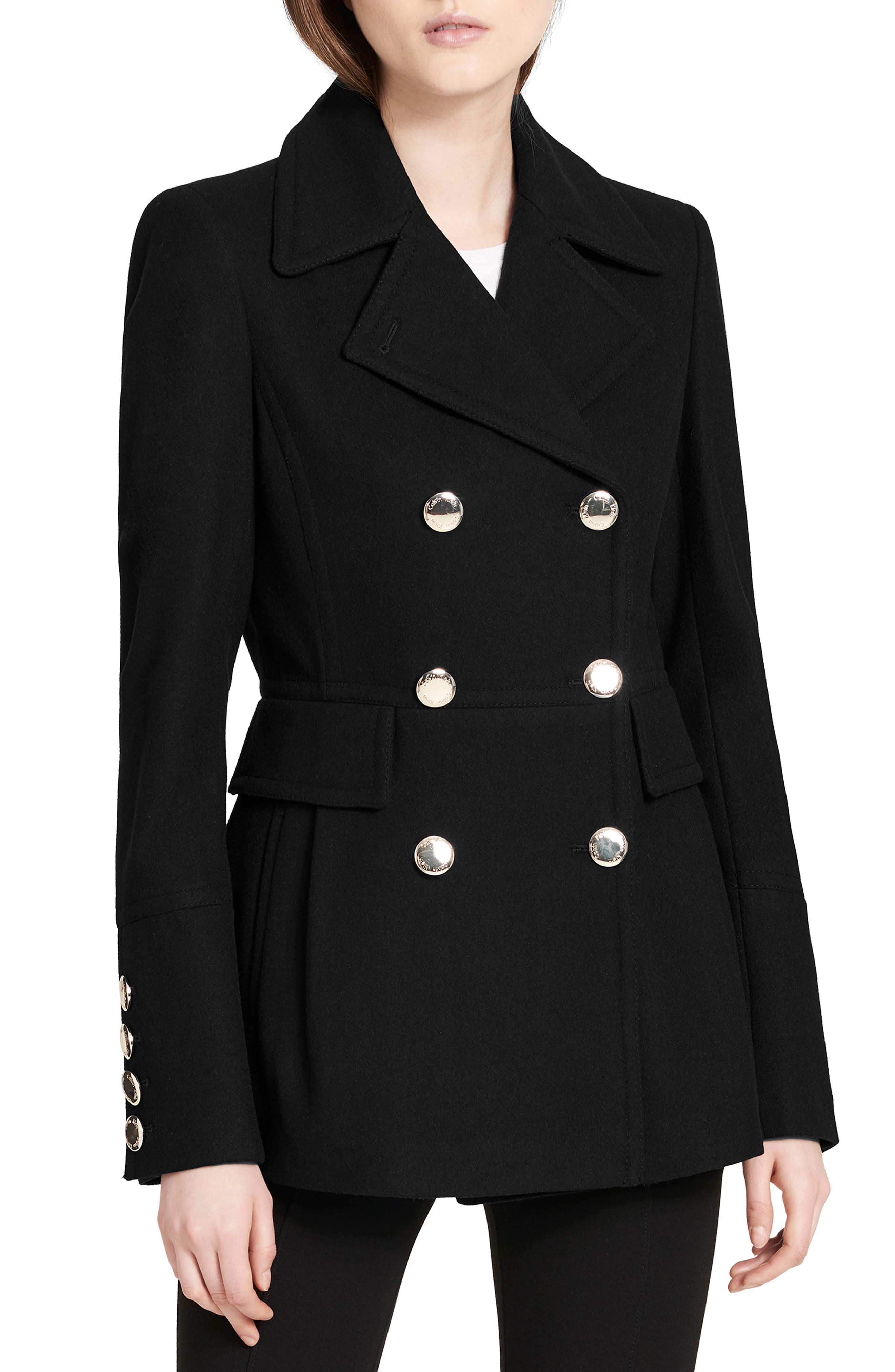 Double Breasted Wool Blend Peacoat,                         Main,                         color, Black