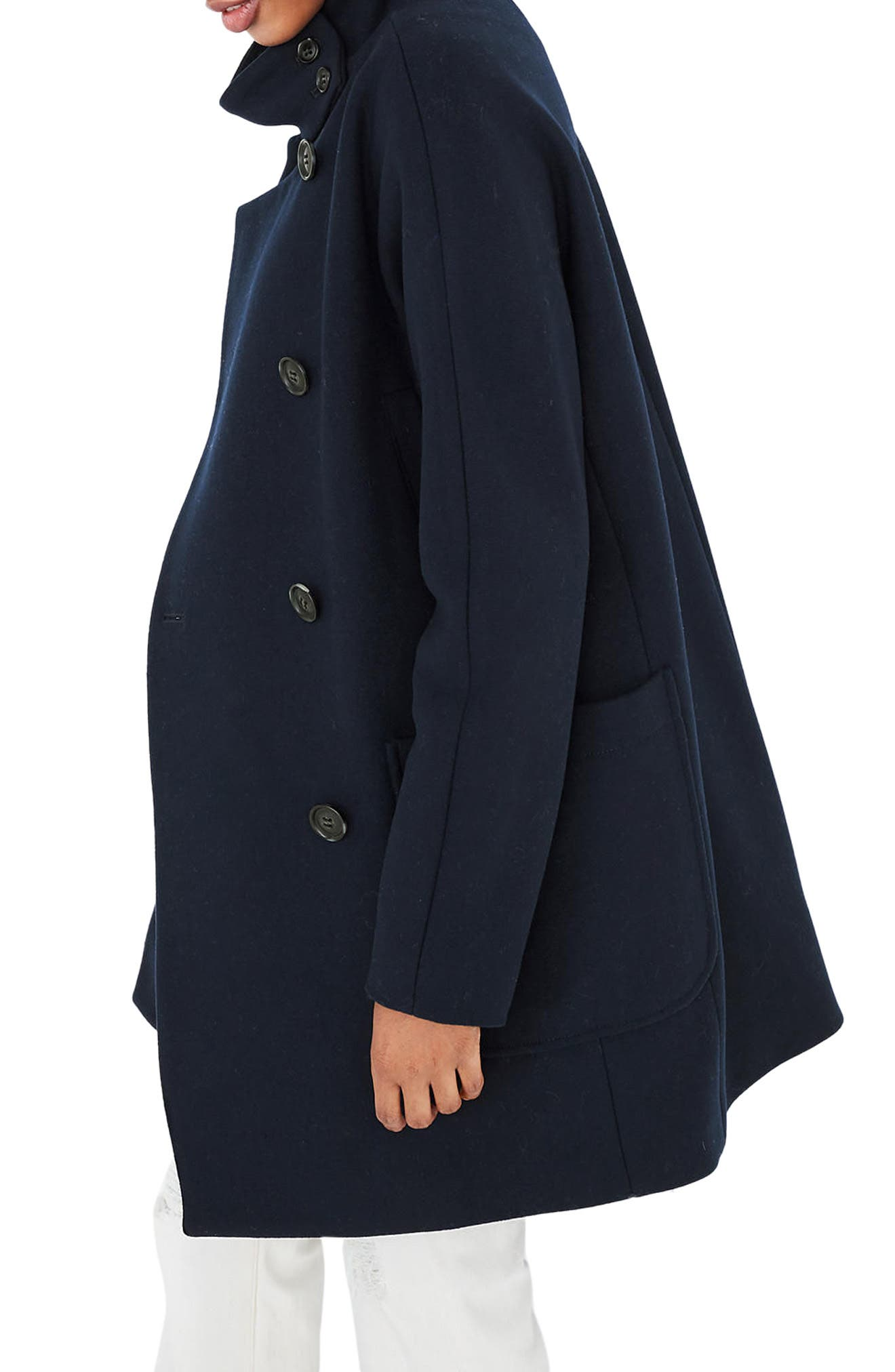 City Grid Double Breasted Coat,                             Alternate thumbnail 3, color,                             Iconic Indigo