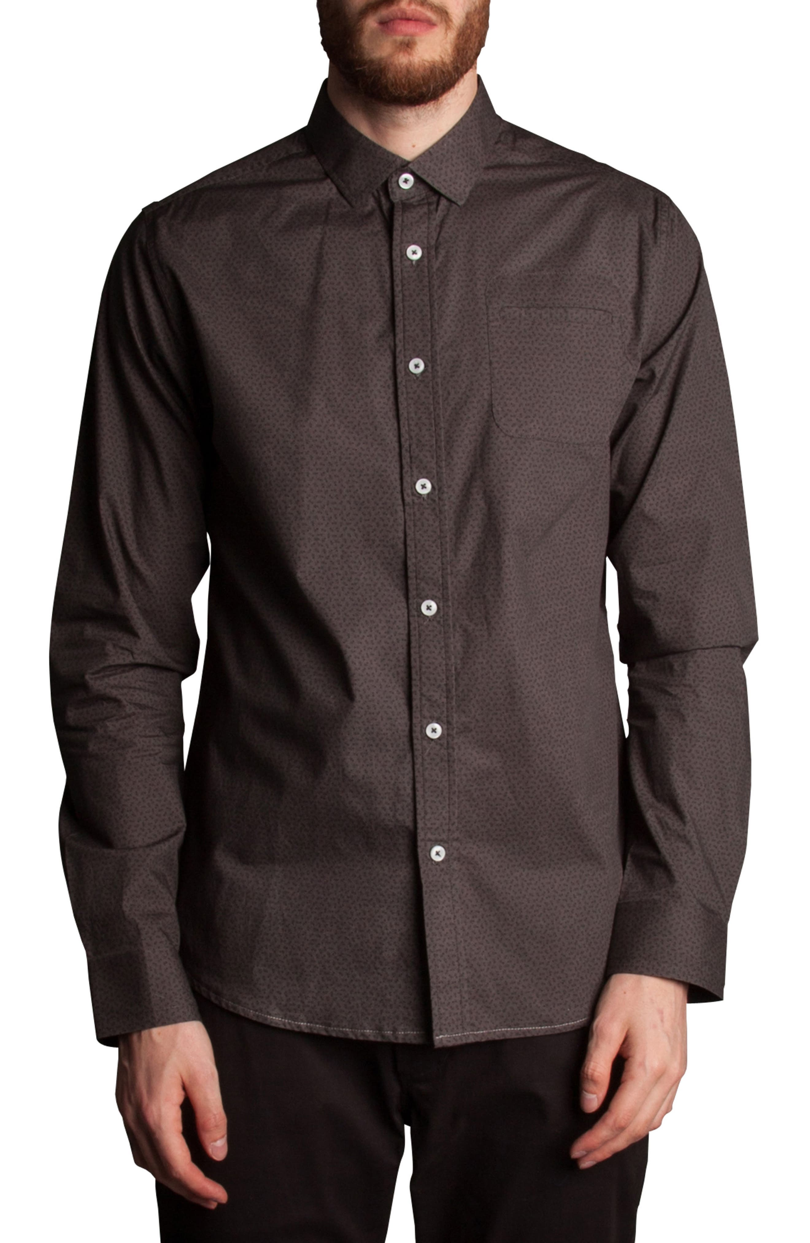 Stick Figure Print Sport Shirt,                         Main,                         color, Grey