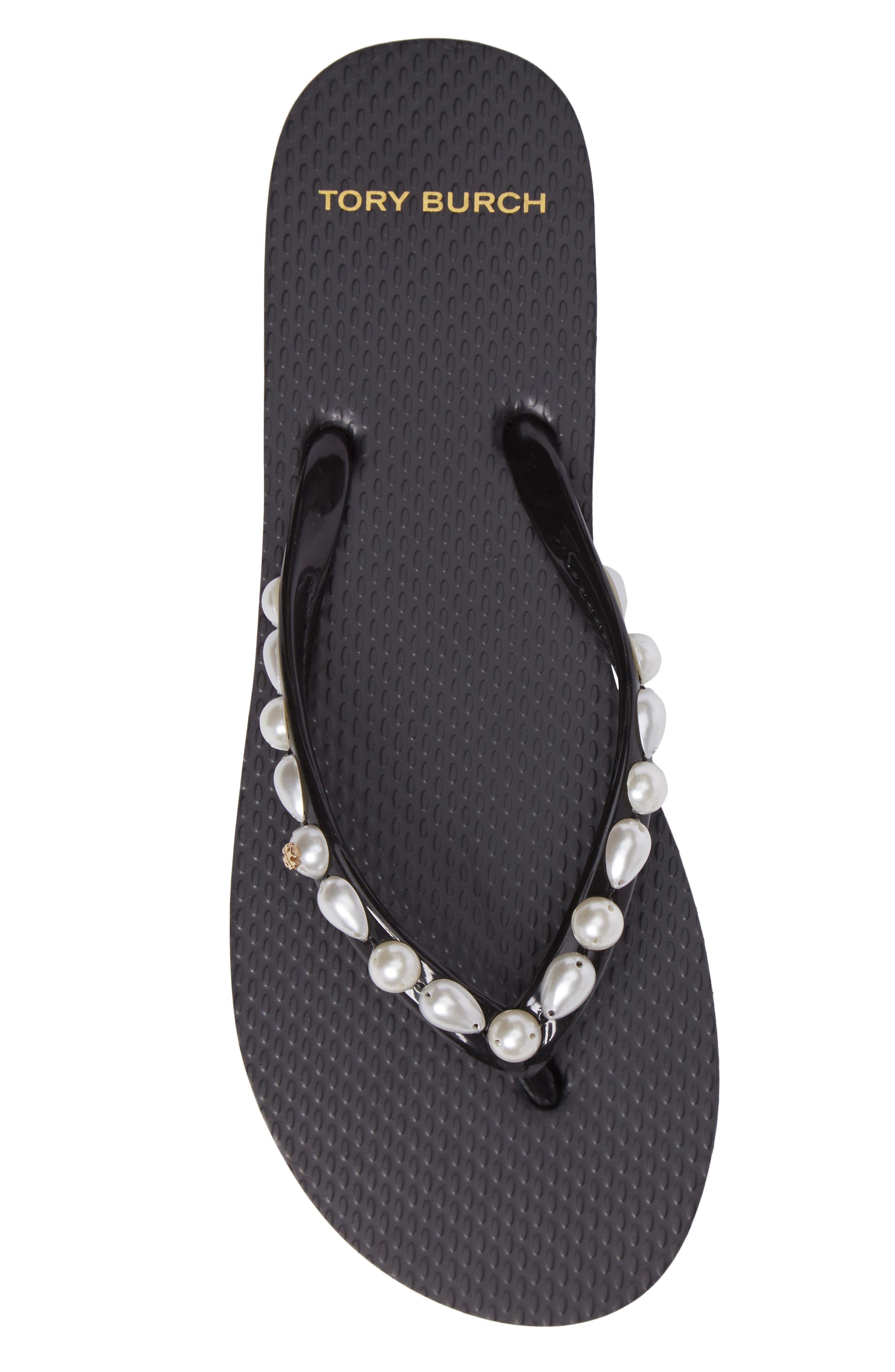 Embellished Flip Flop,                             Alternate thumbnail 5, color,                             Black
