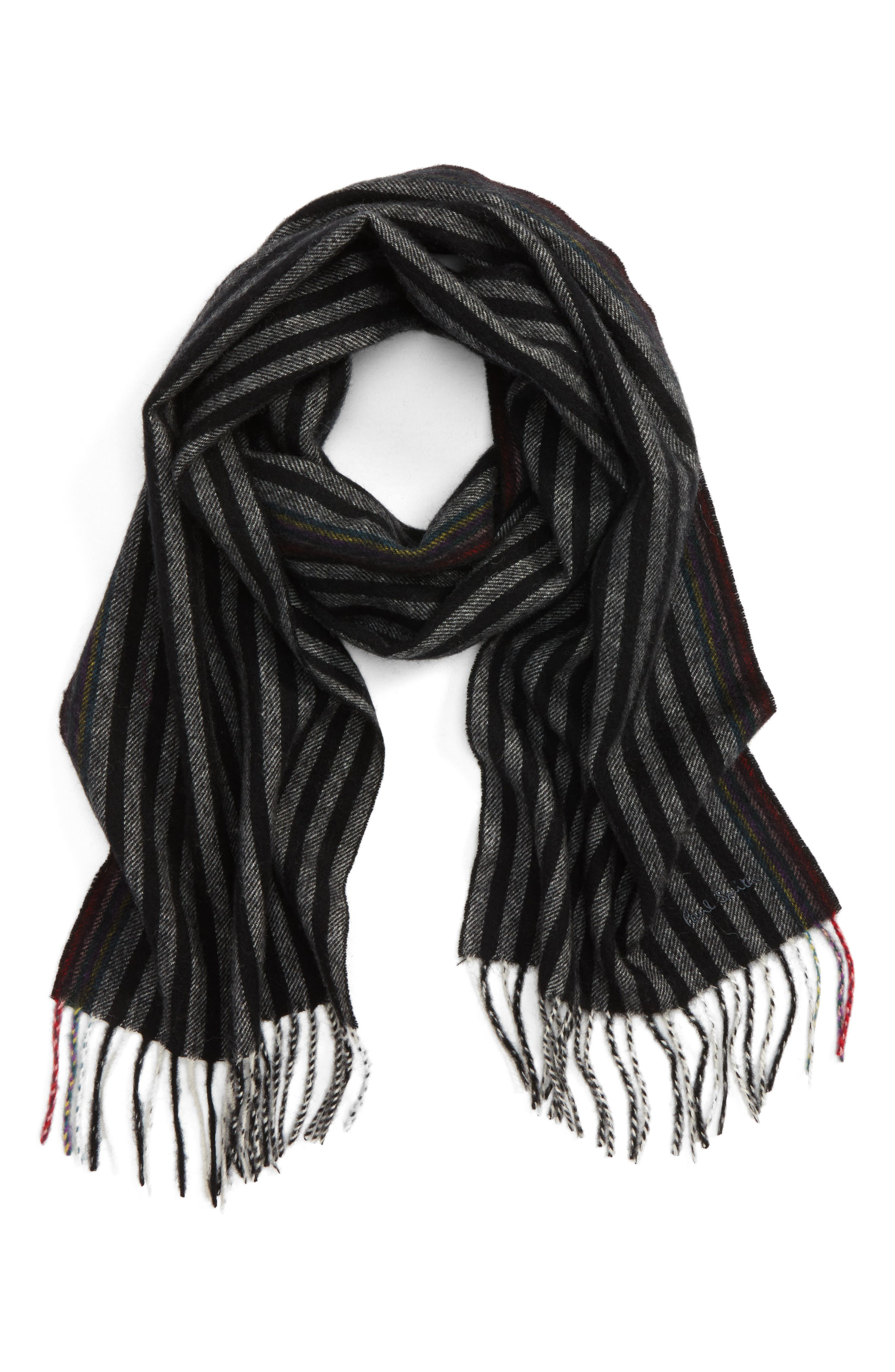 Stripe Wool & Cashmere Scarf,                             Main thumbnail 1, color,                             Black