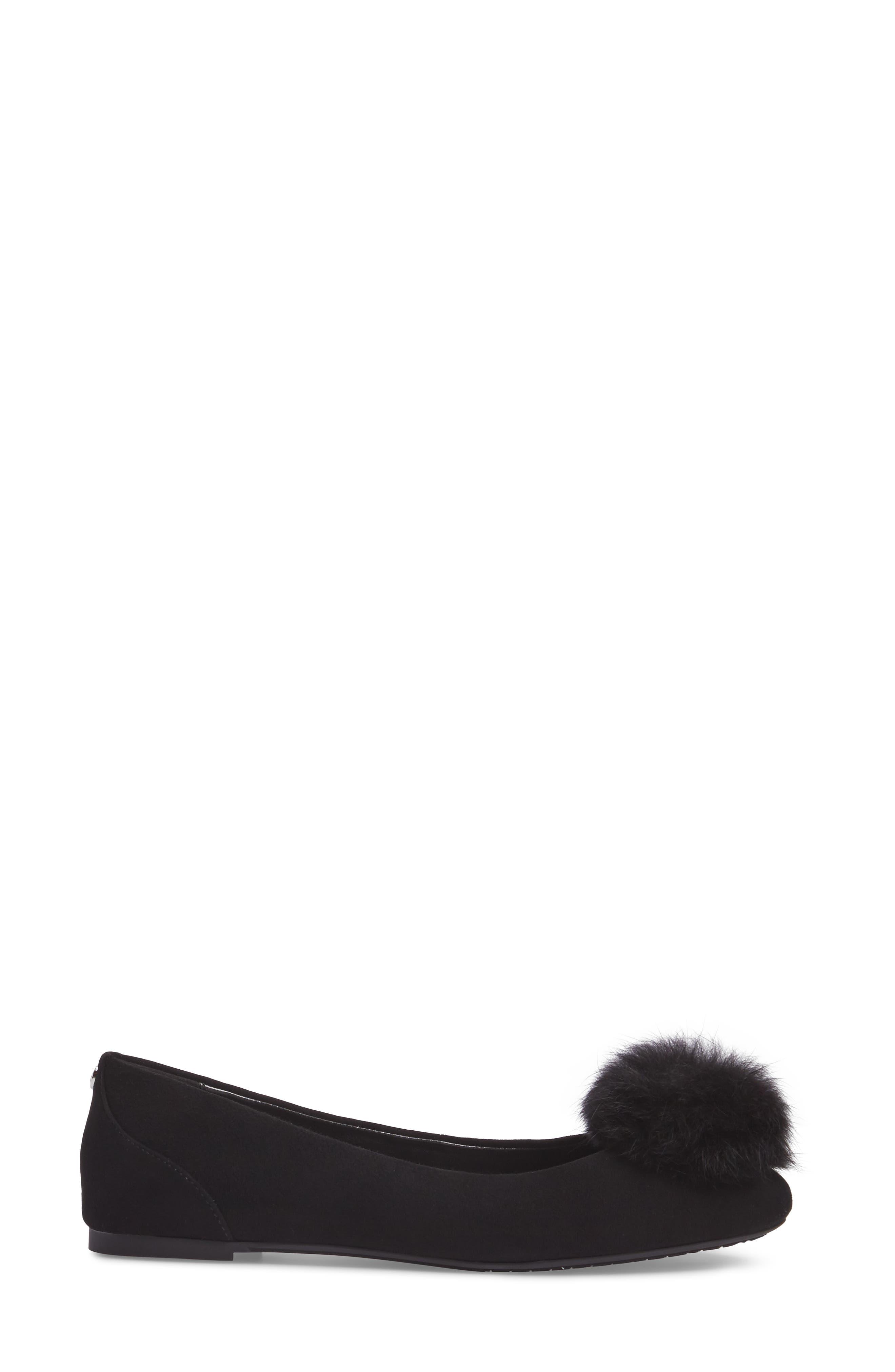 Remi Ballet Flat with Genuine Rabbit Fur Pom,                             Alternate thumbnail 3, color,                             Black Suede