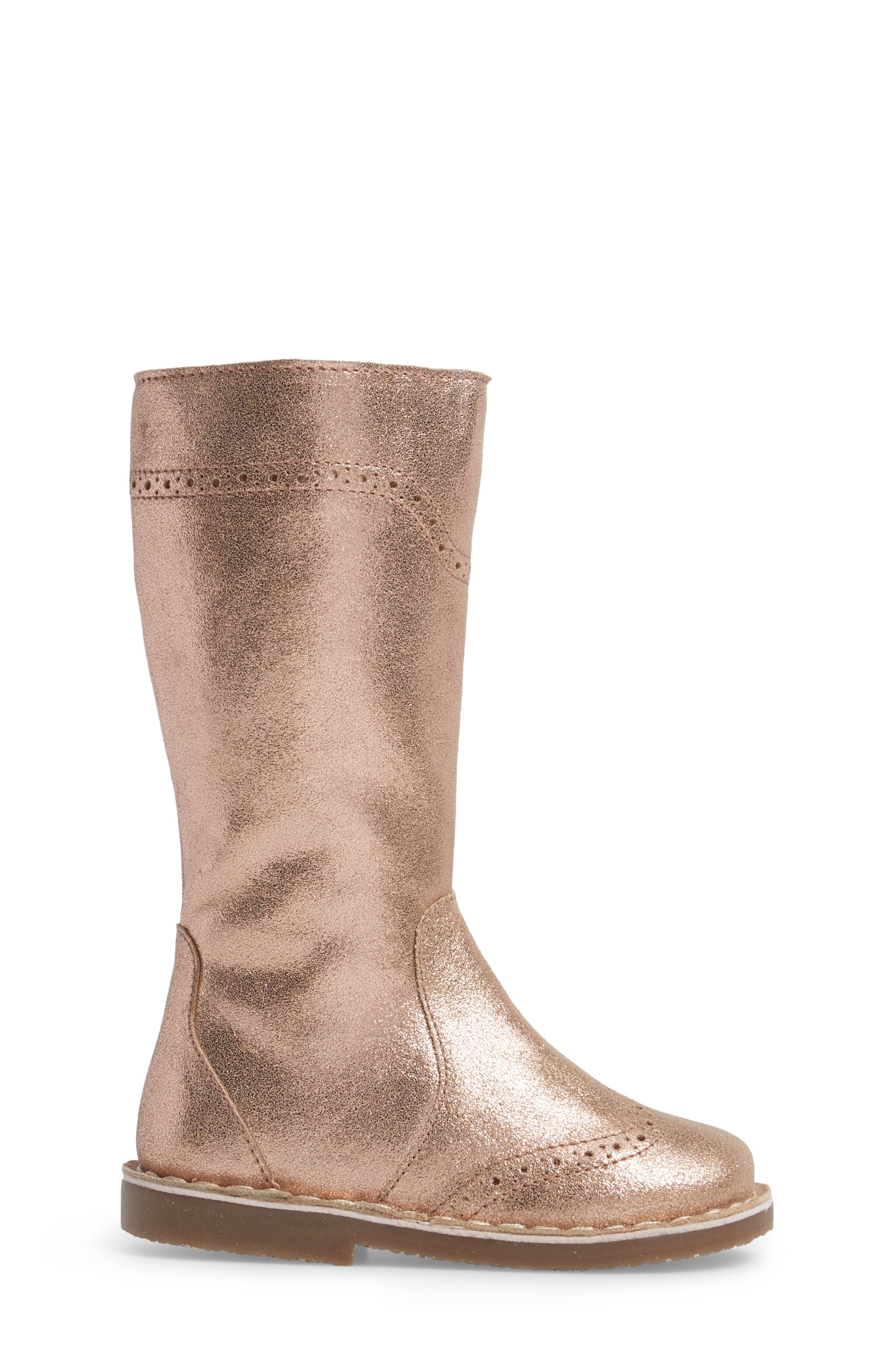 Tall Leather Boot,                             Alternate thumbnail 3, color,                             Rose Gold
