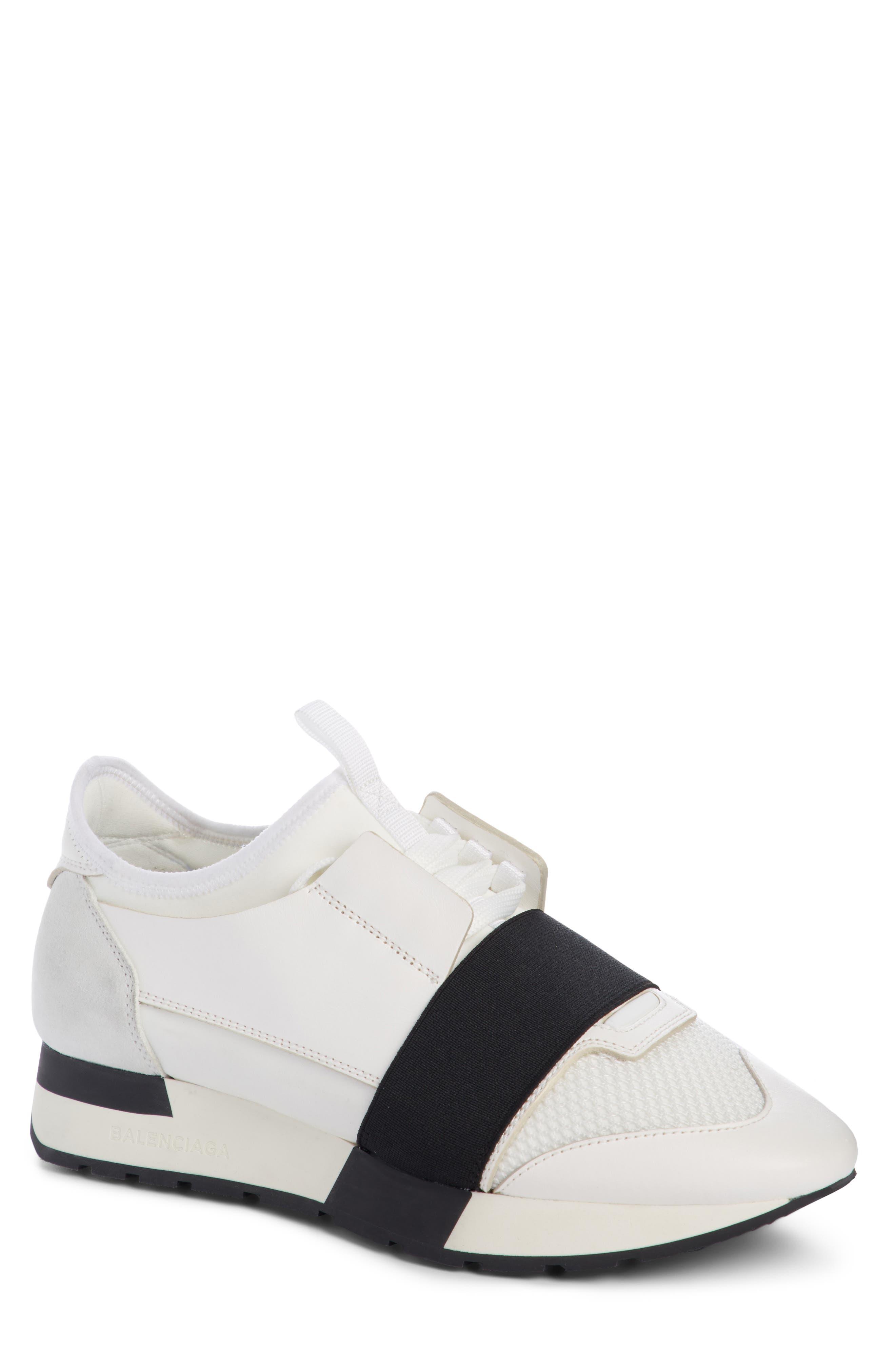 Mixed Media Trainer Sneaker,                         Main,                         color, White/ Black