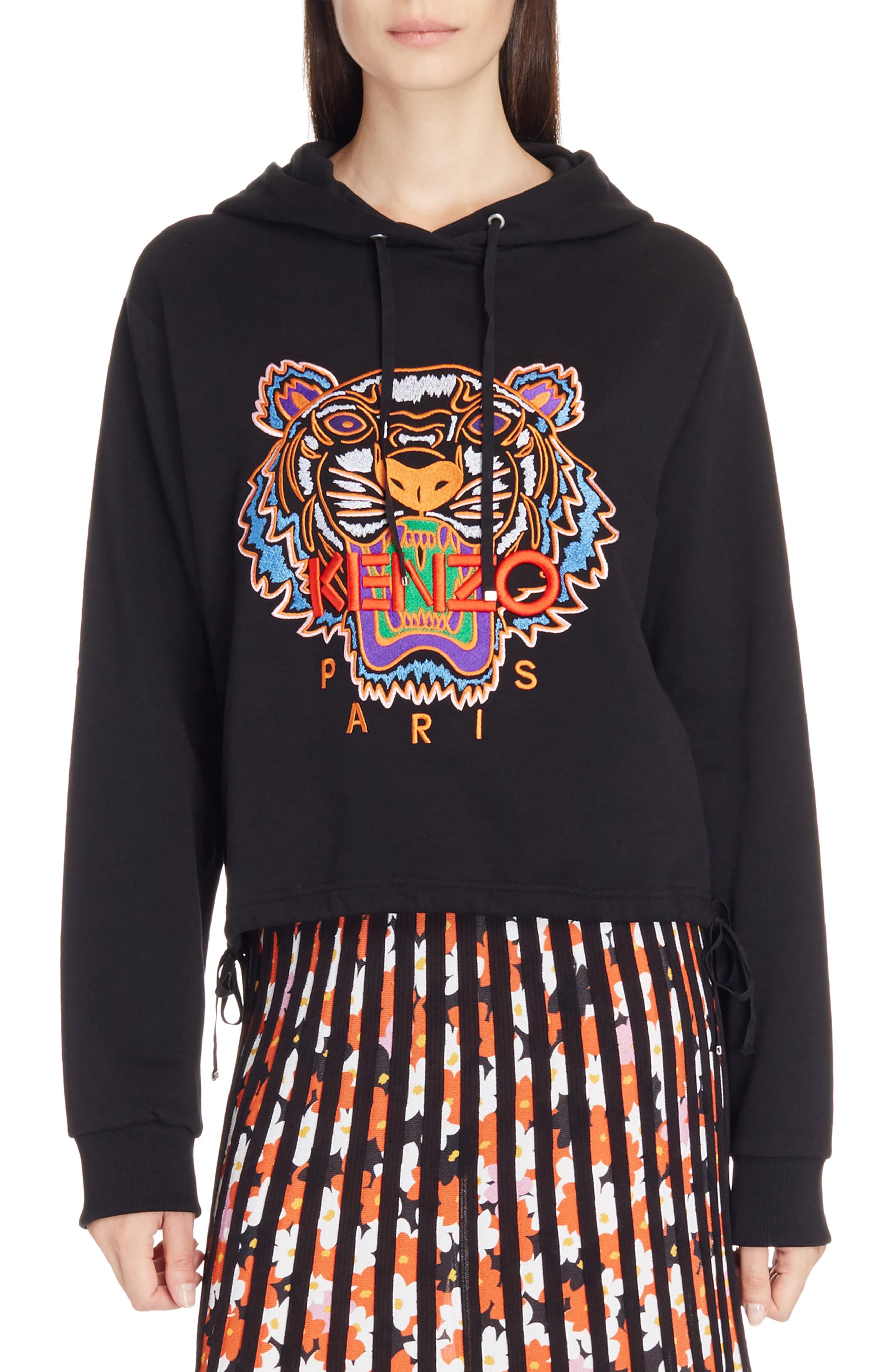 Tiger Embroidered Hoodie,                             Main thumbnail 1, color,                             Black