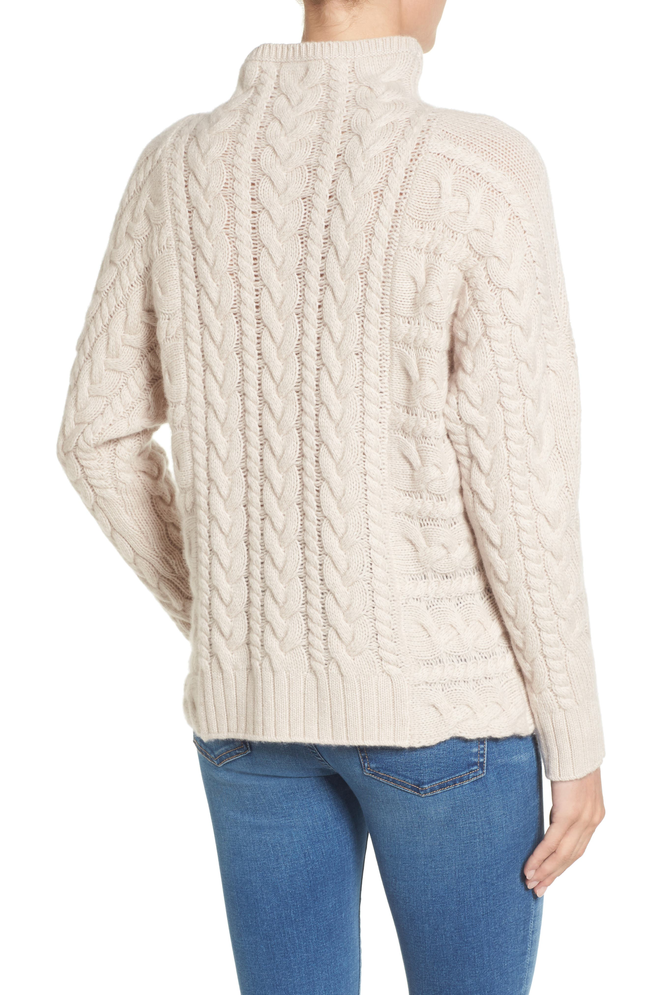 Cashmere Cable Sweater,                             Alternate thumbnail 2, color,                             Beige Pumice Heather