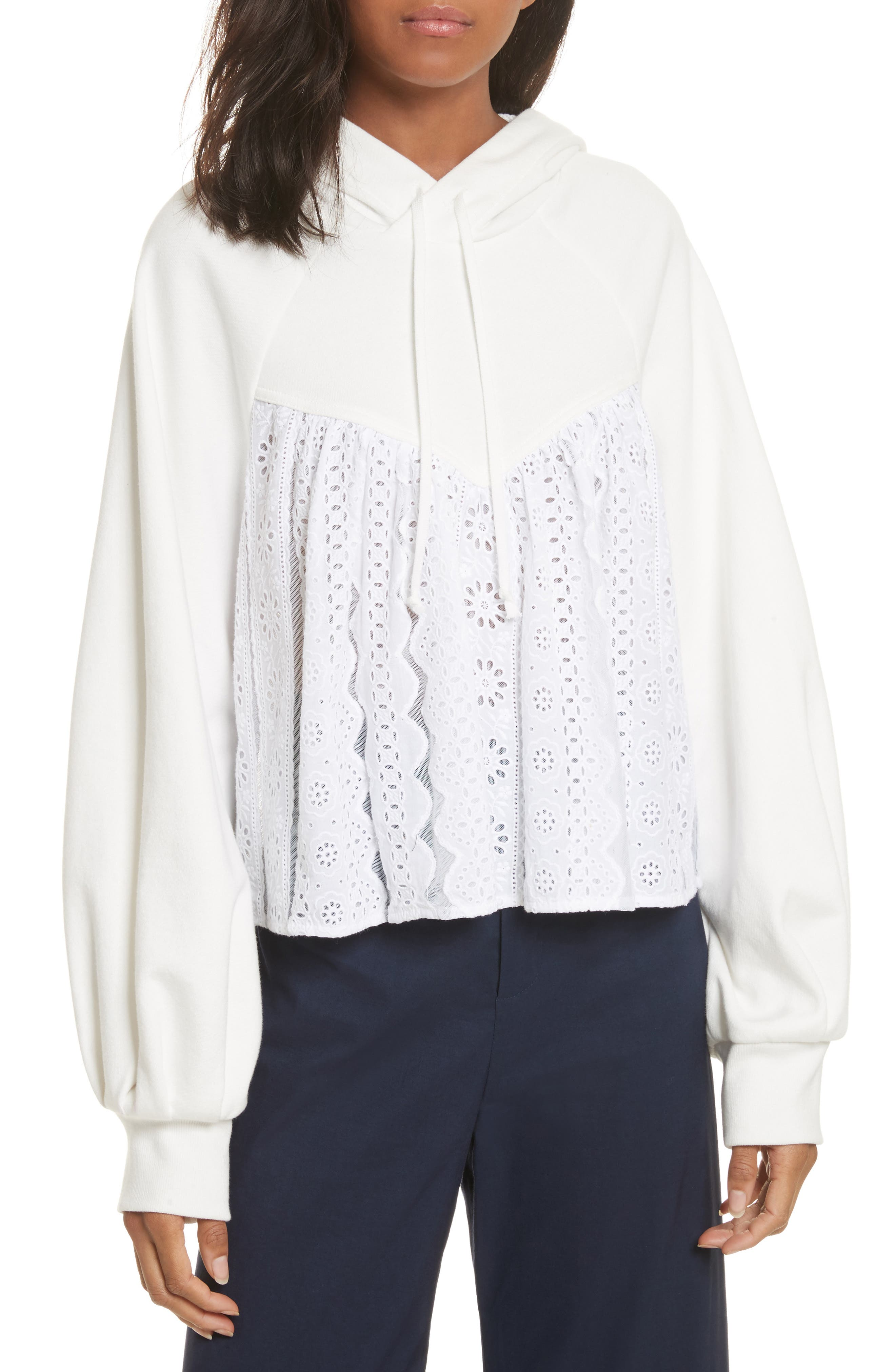 Eyelet Accent Sweatshirt,                         Main,                         color, White With White Mesh