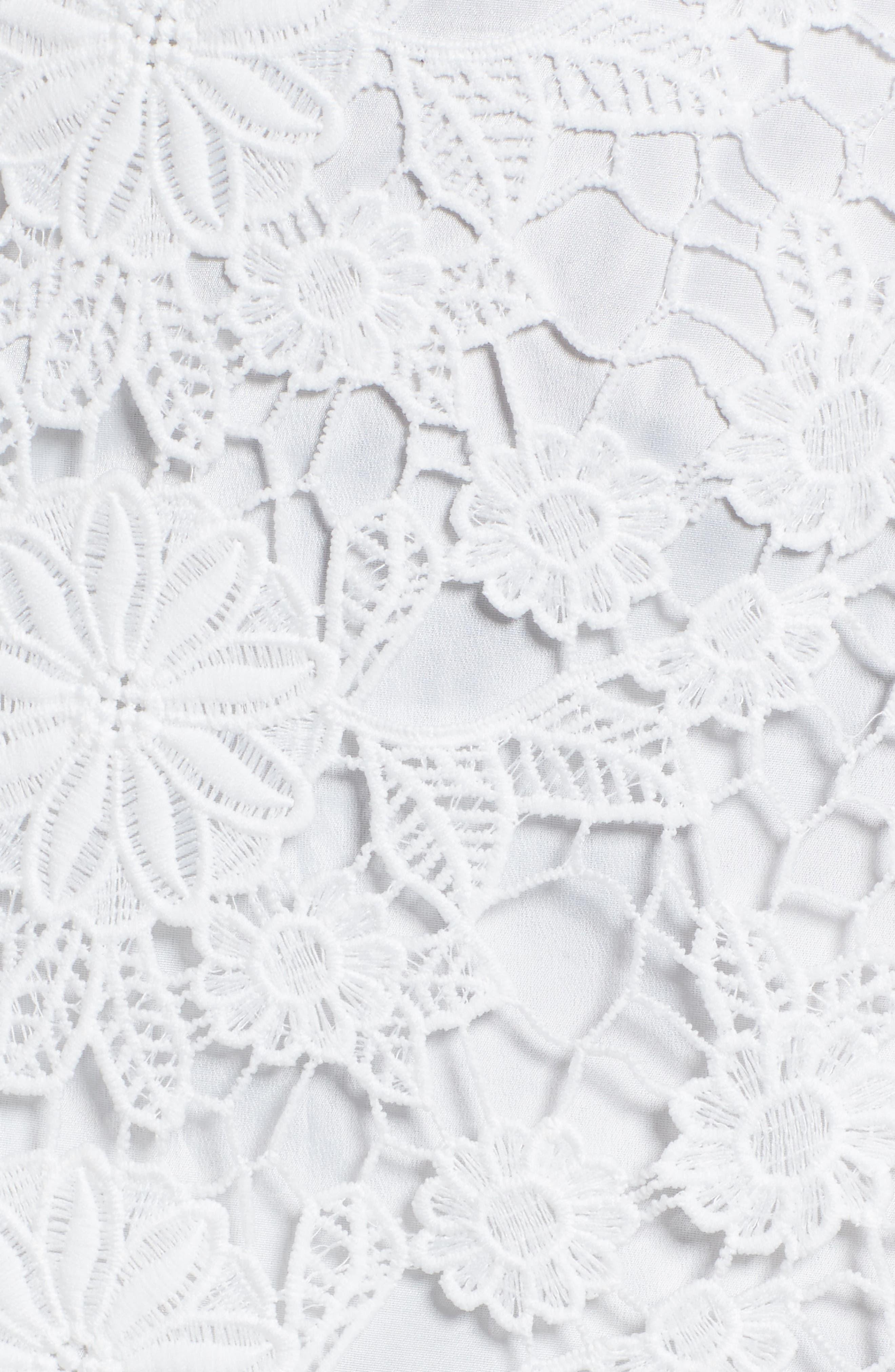 Frameless Lace Sheath Dress,                             Alternate thumbnail 6, color,                             Ivory
