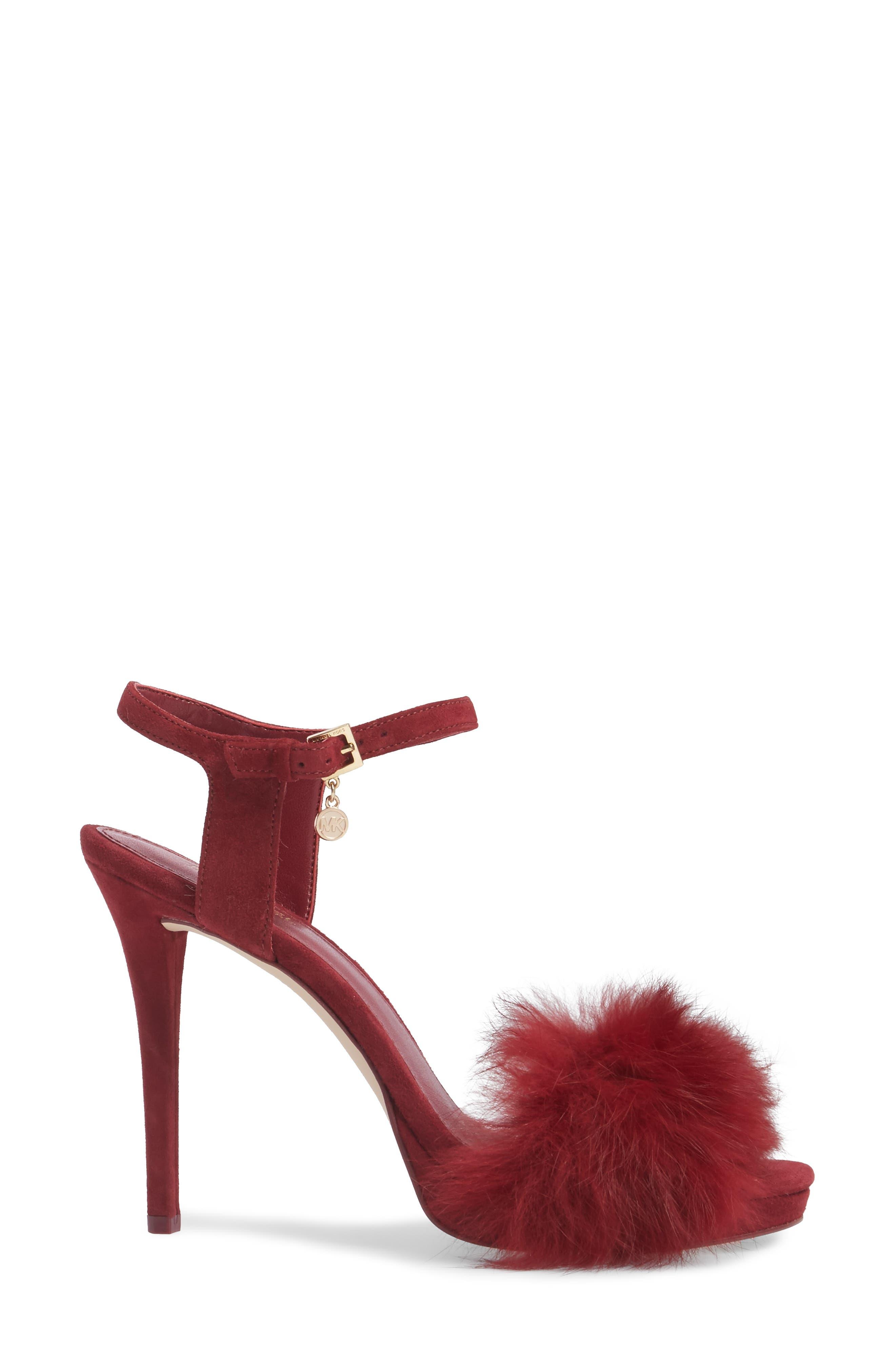 Faye Genuine Rabbit Fur Sandal,                             Alternate thumbnail 3, color,                             Mulberry Suede/ Fur