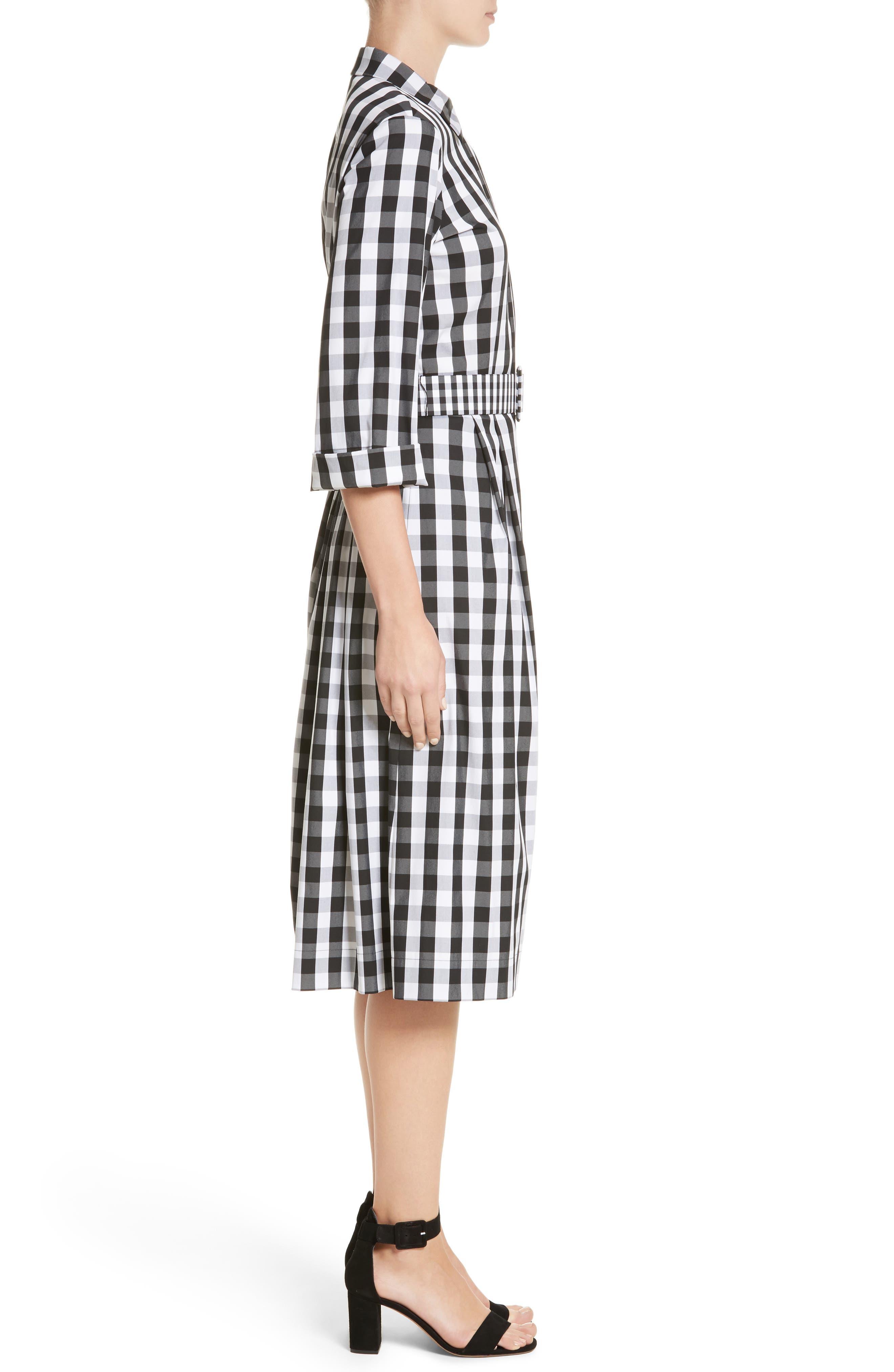 Eleni Gingham Shirtdress,                             Alternate thumbnail 3, color,                             Black Multi