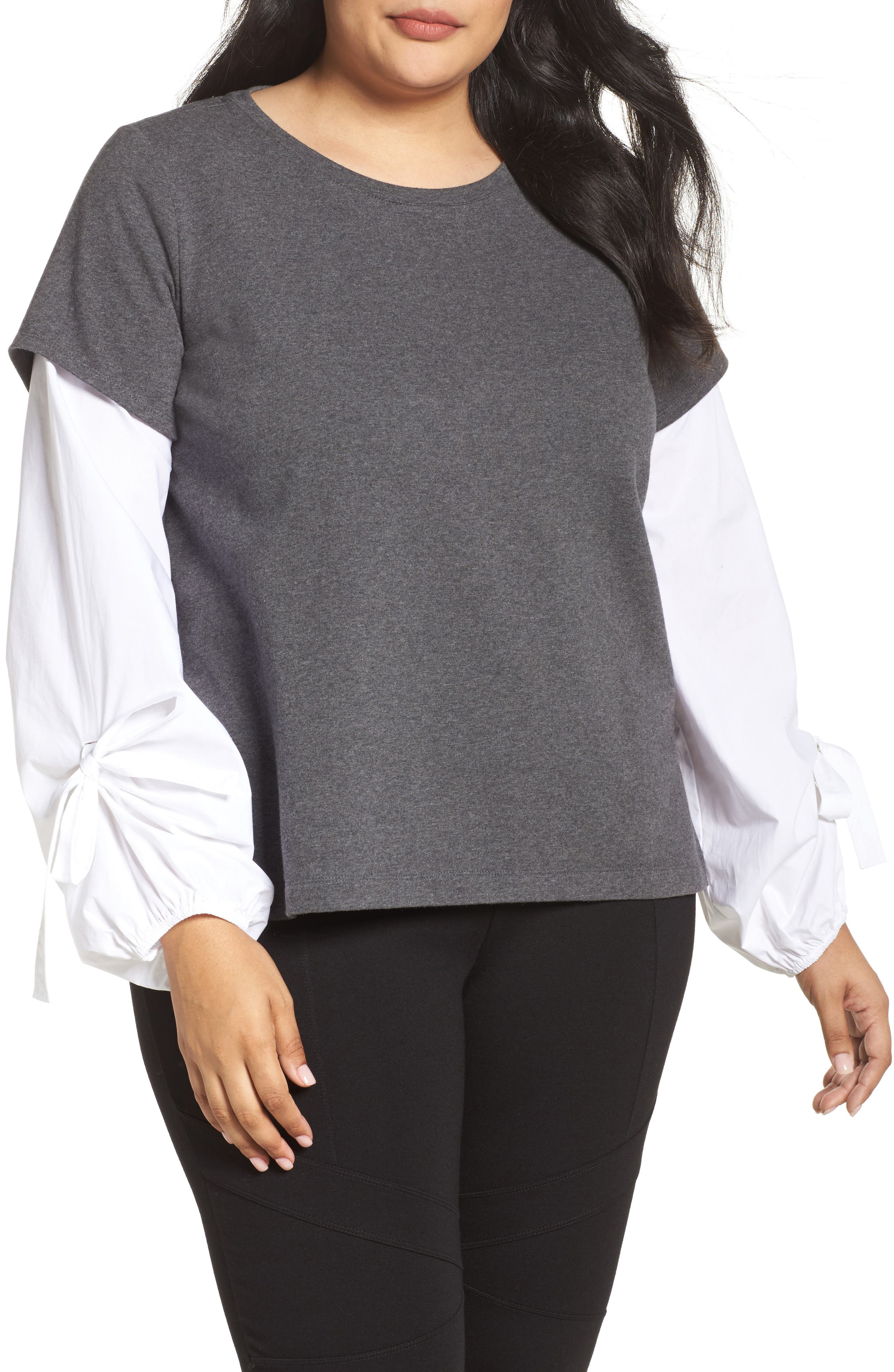 Two by Vince Camuto Bubble Tie Sleeve Mix Media Pullover (Plus Size)
