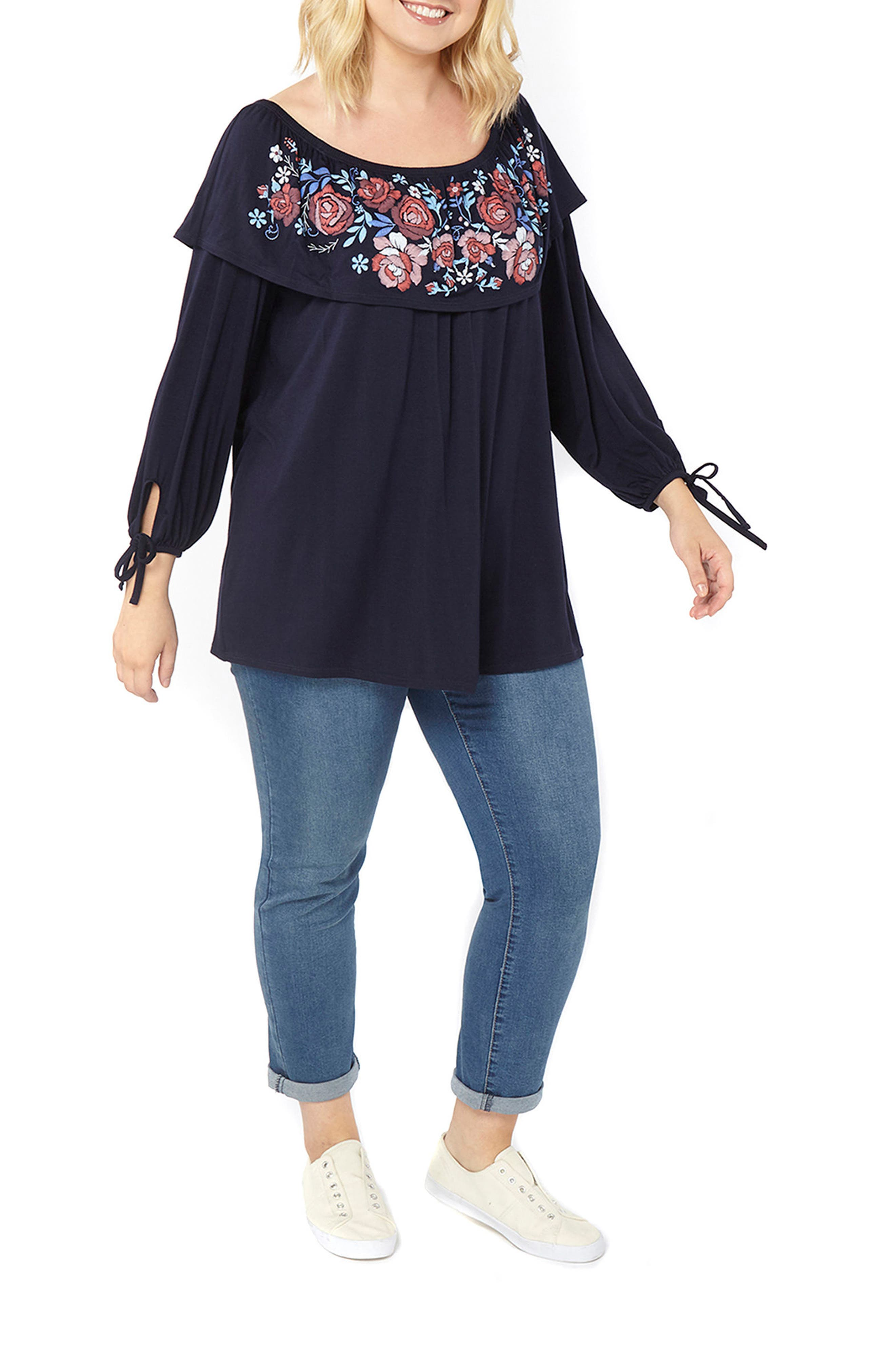 Off the Shoulder Puff Print Top,                             Alternate thumbnail 2, color,                             Navy