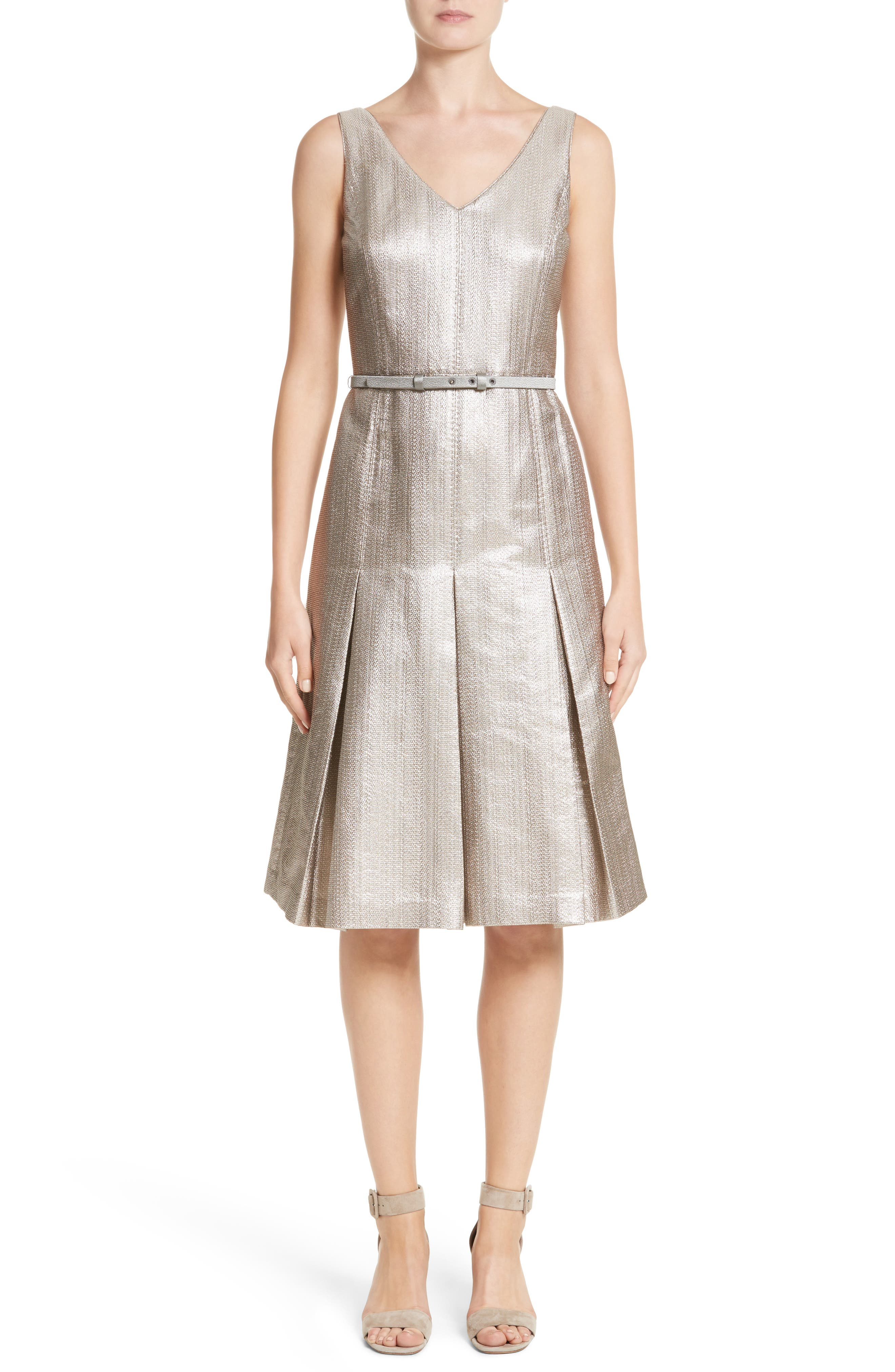 Lois Ceremonial Cloth Dress,                         Main,                         color, Oyster Metallic