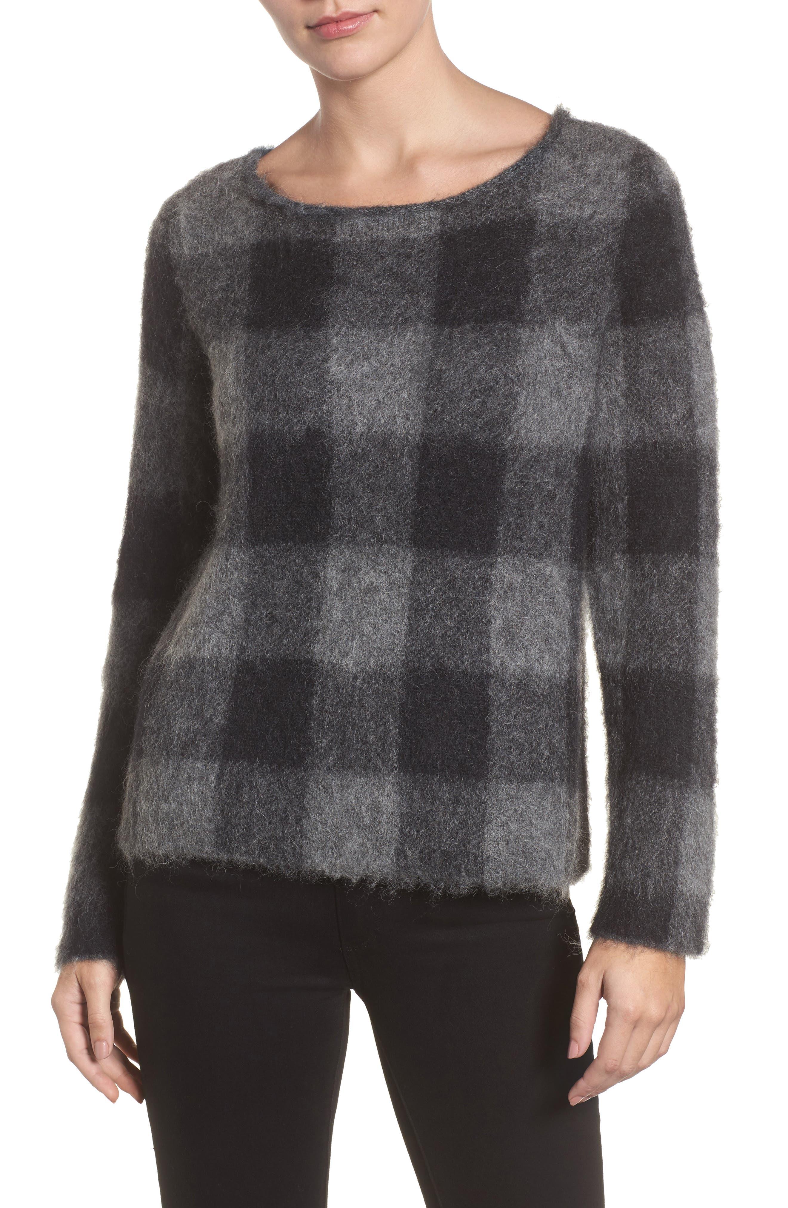 Check Plaid Sweater,                             Main thumbnail 1, color,                             Ash