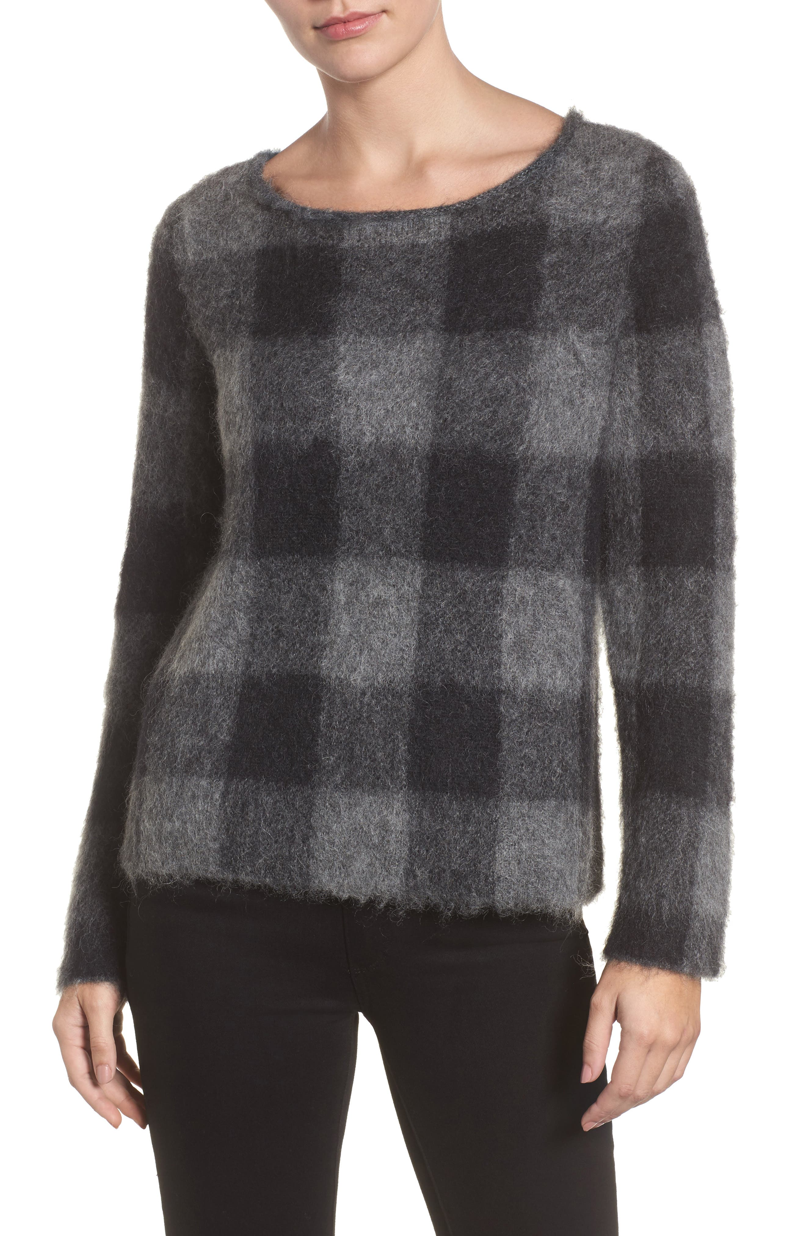 Check Plaid Sweater,                         Main,                         color, Ash