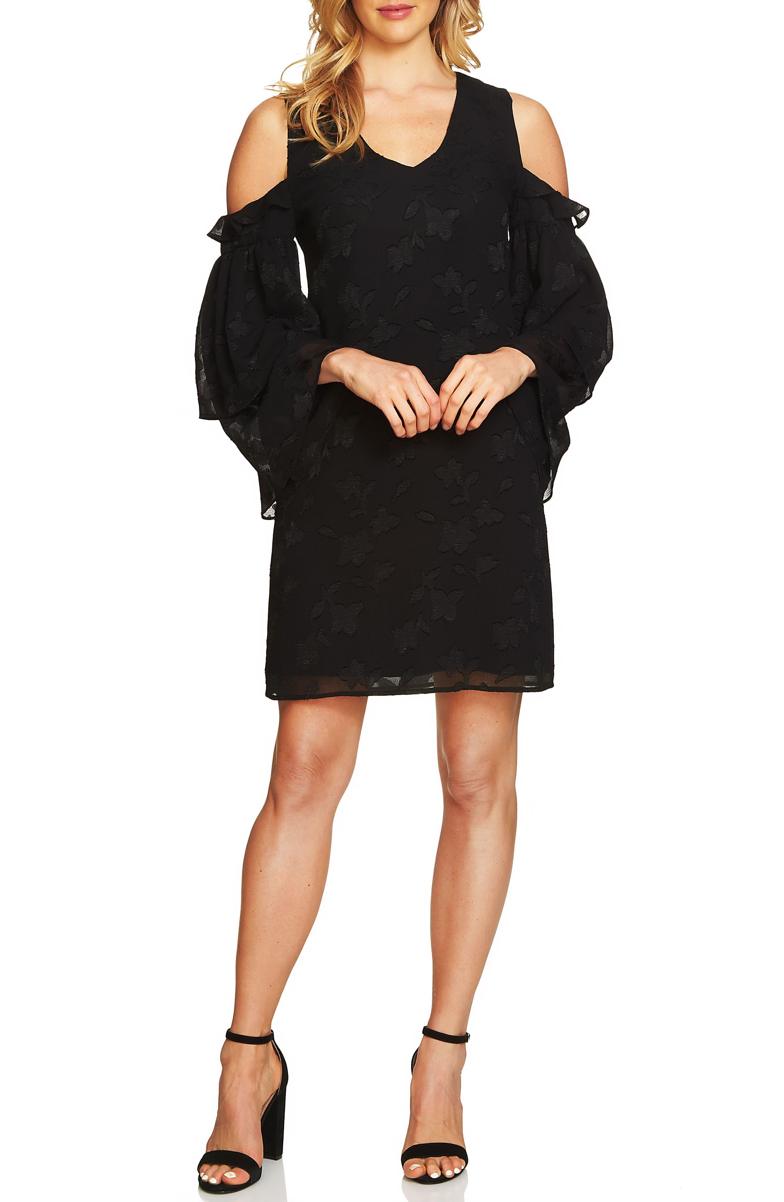 Cold Shoulder Ruffled Sleeve Shift Dress,                         Main,                         color, Rich Black