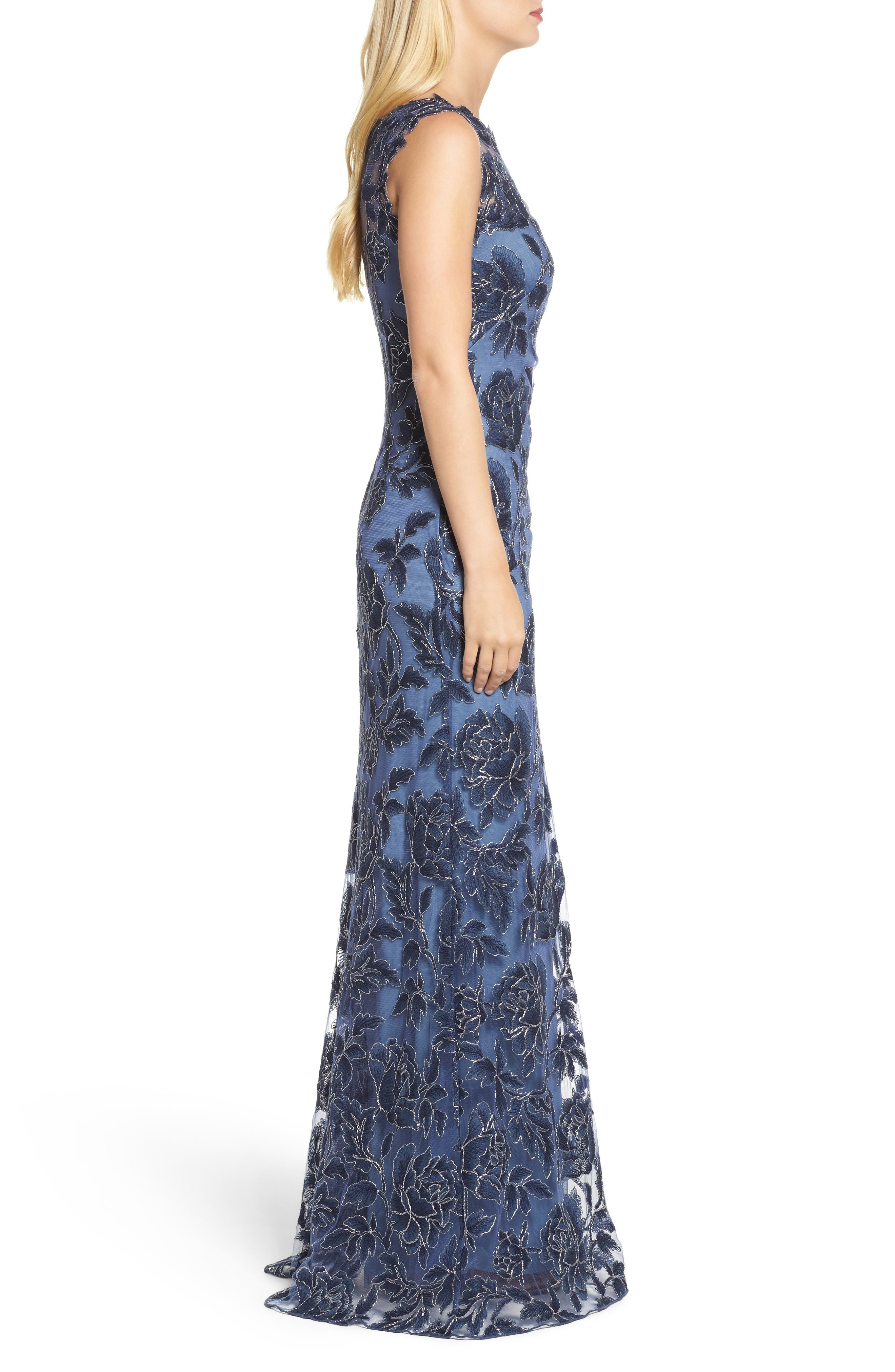 Embroidered Mesh Gown,                             Alternate thumbnail 3, color,                             Navy/ Steel