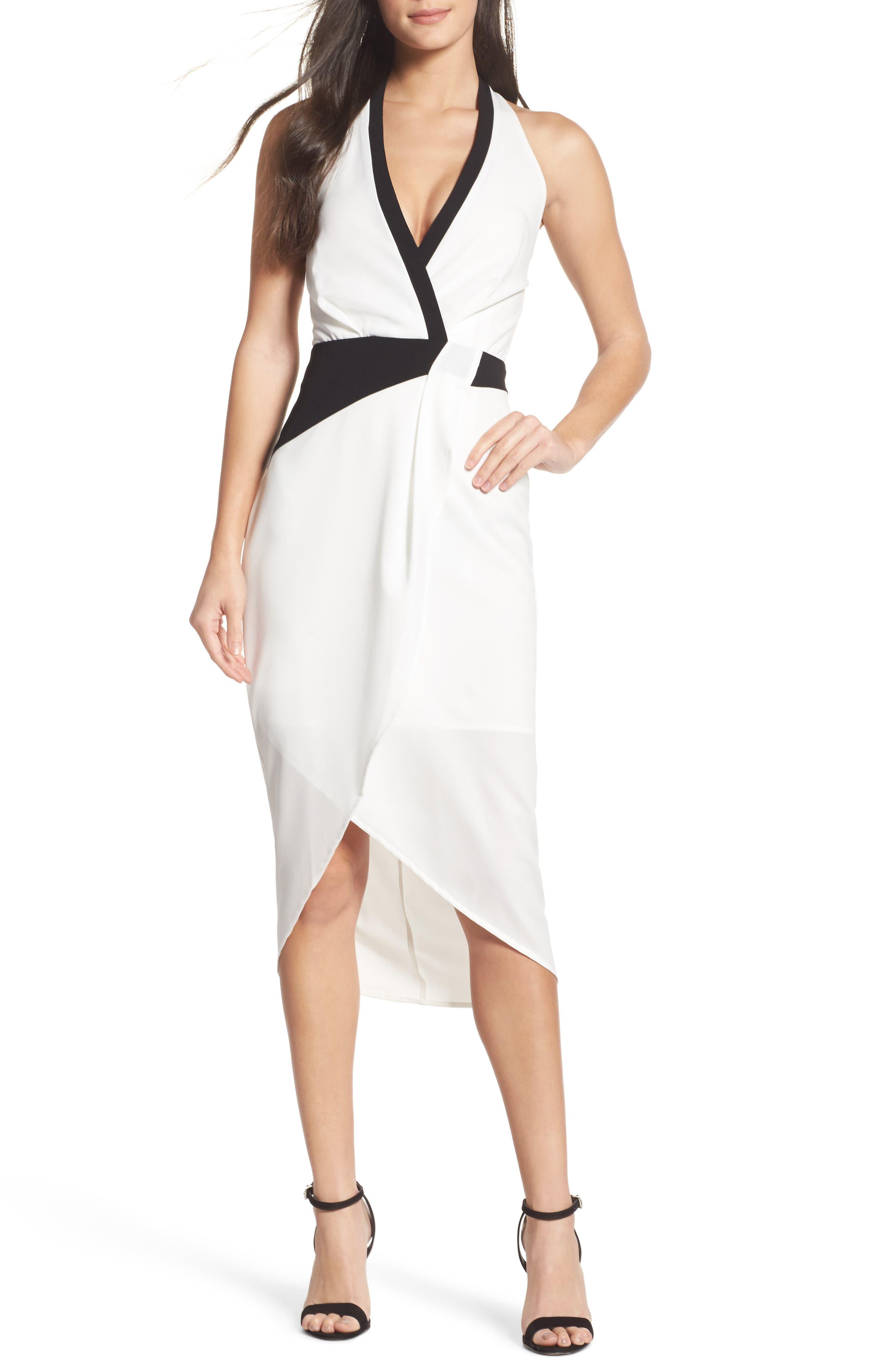 Claudia Drape Midi Dress,                         Main,                         color, White/ Black