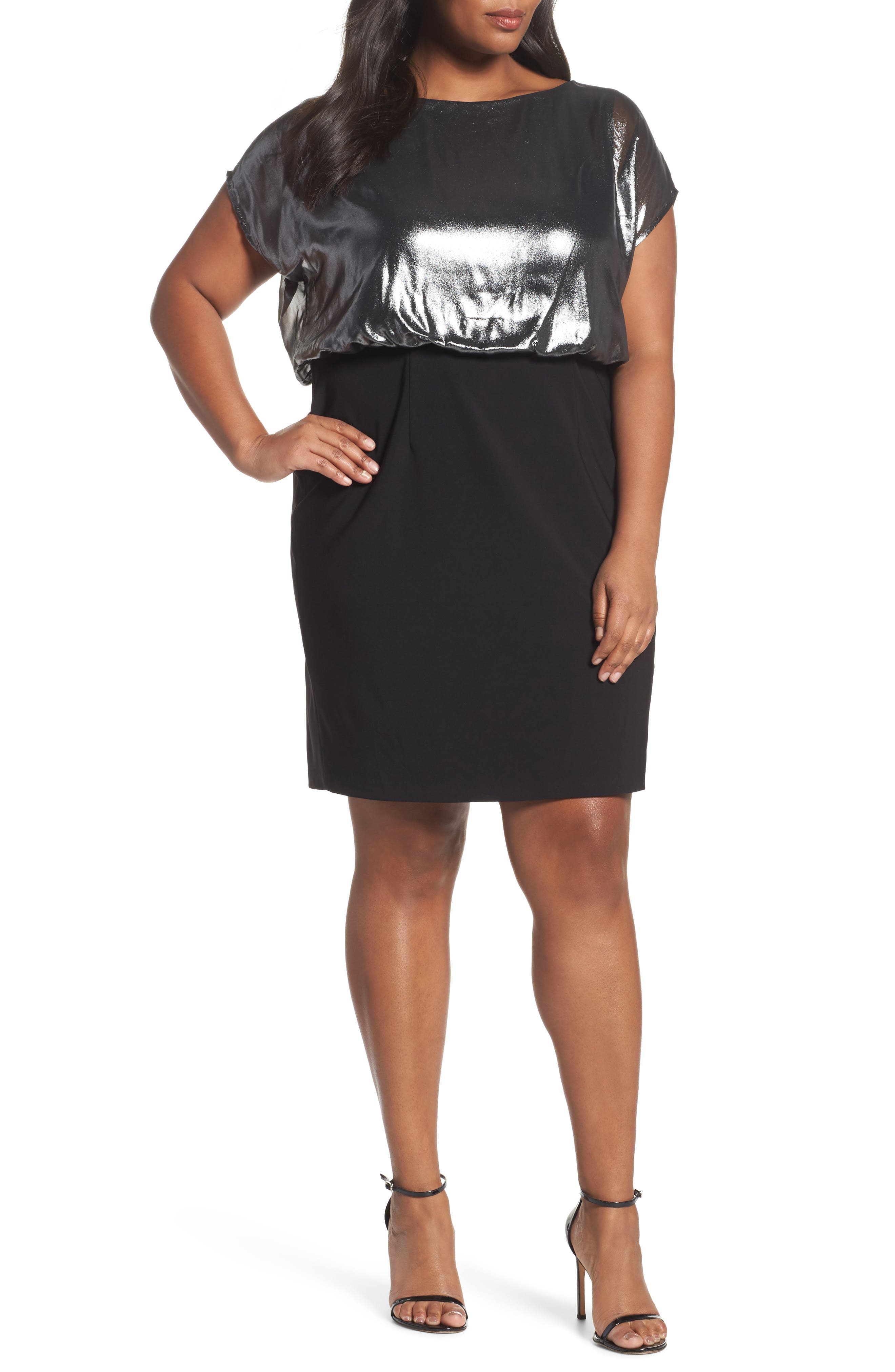 Foiled Blouson Dress,                         Main,                         color, Gunmetal/ Black