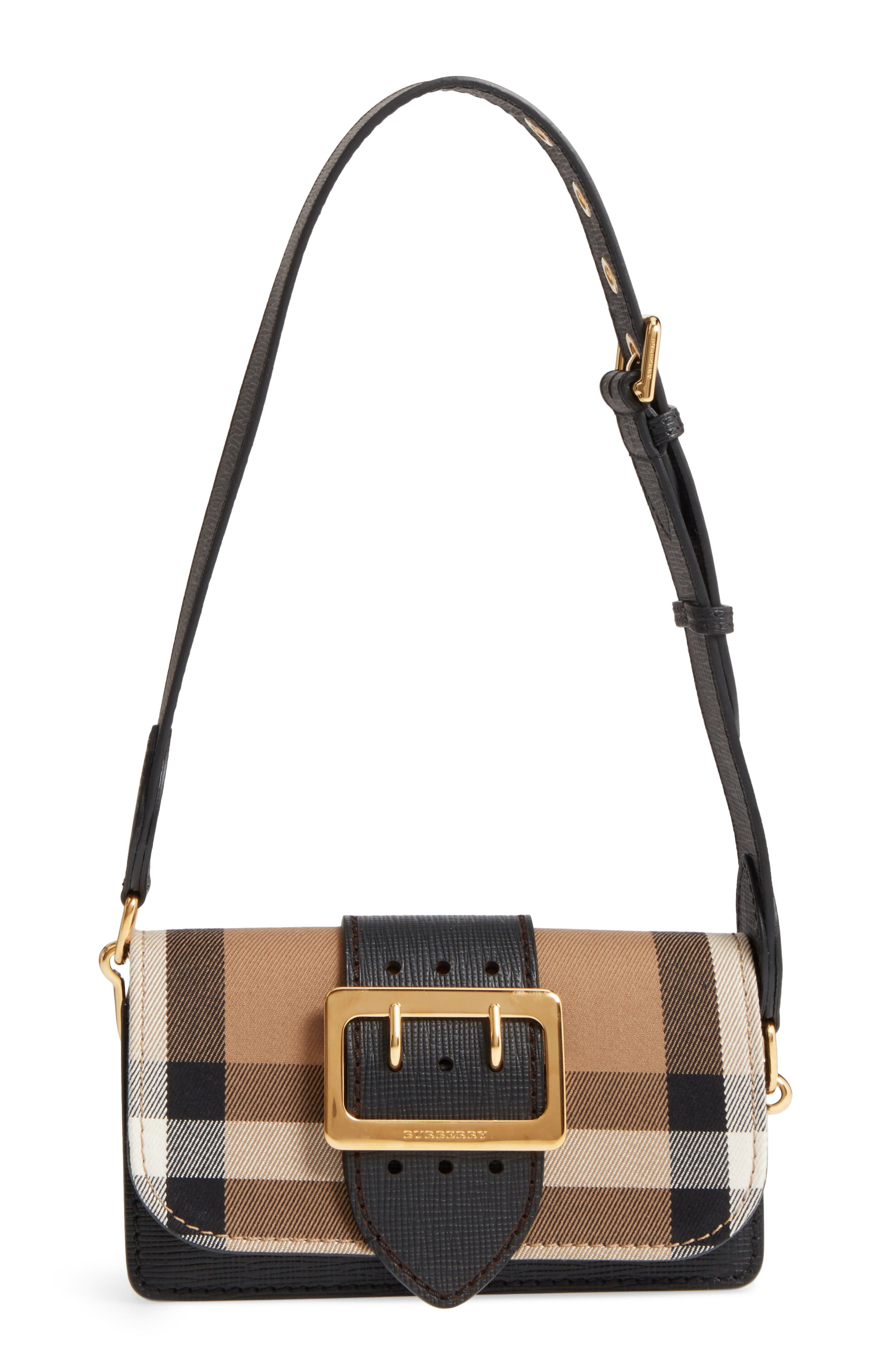 Main Image - Burberry Small Buckle House Check & Leather Convertible Clutch