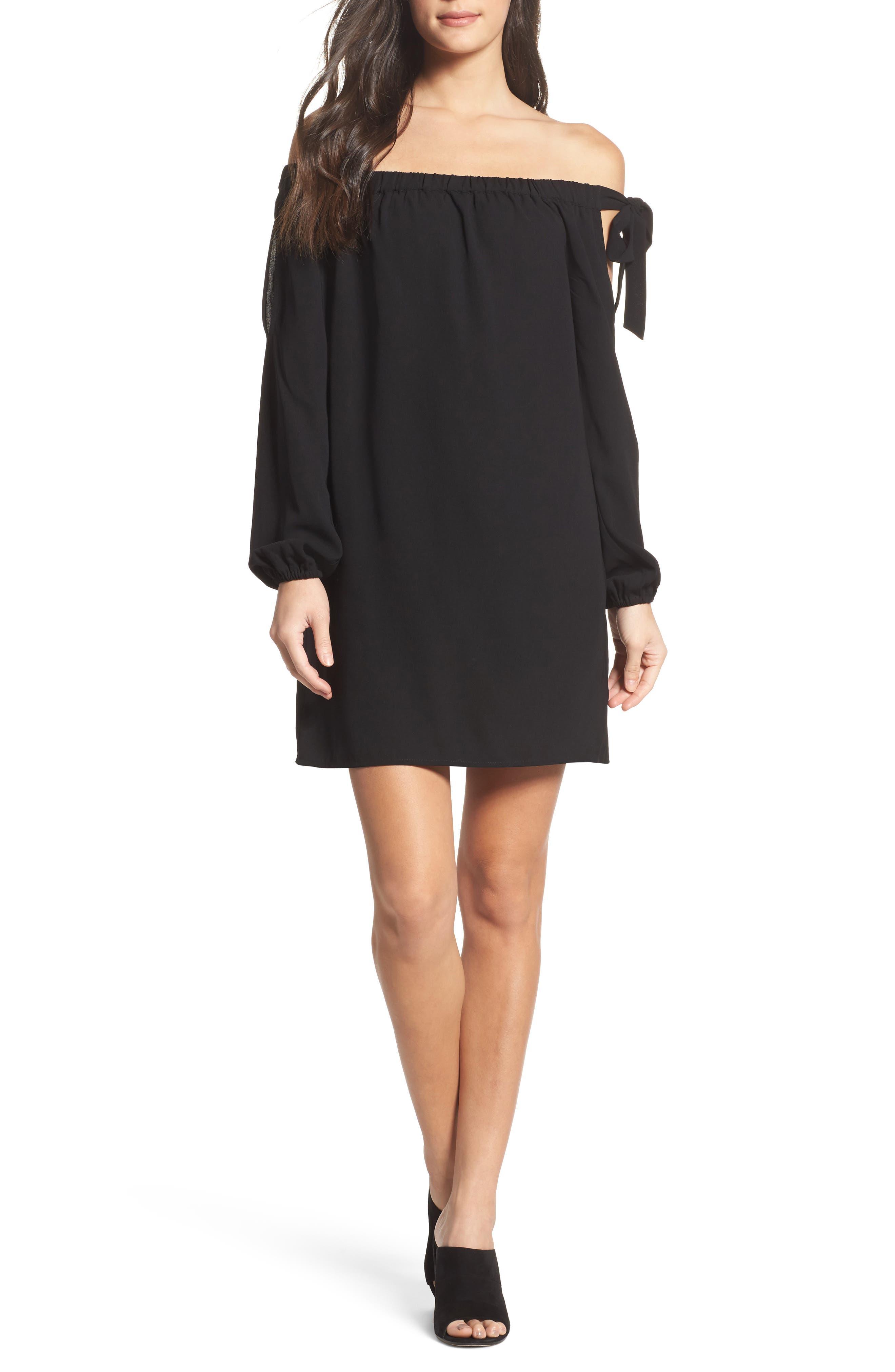 Muse Off the Shoulder Minidress,                         Main,                         color, Black