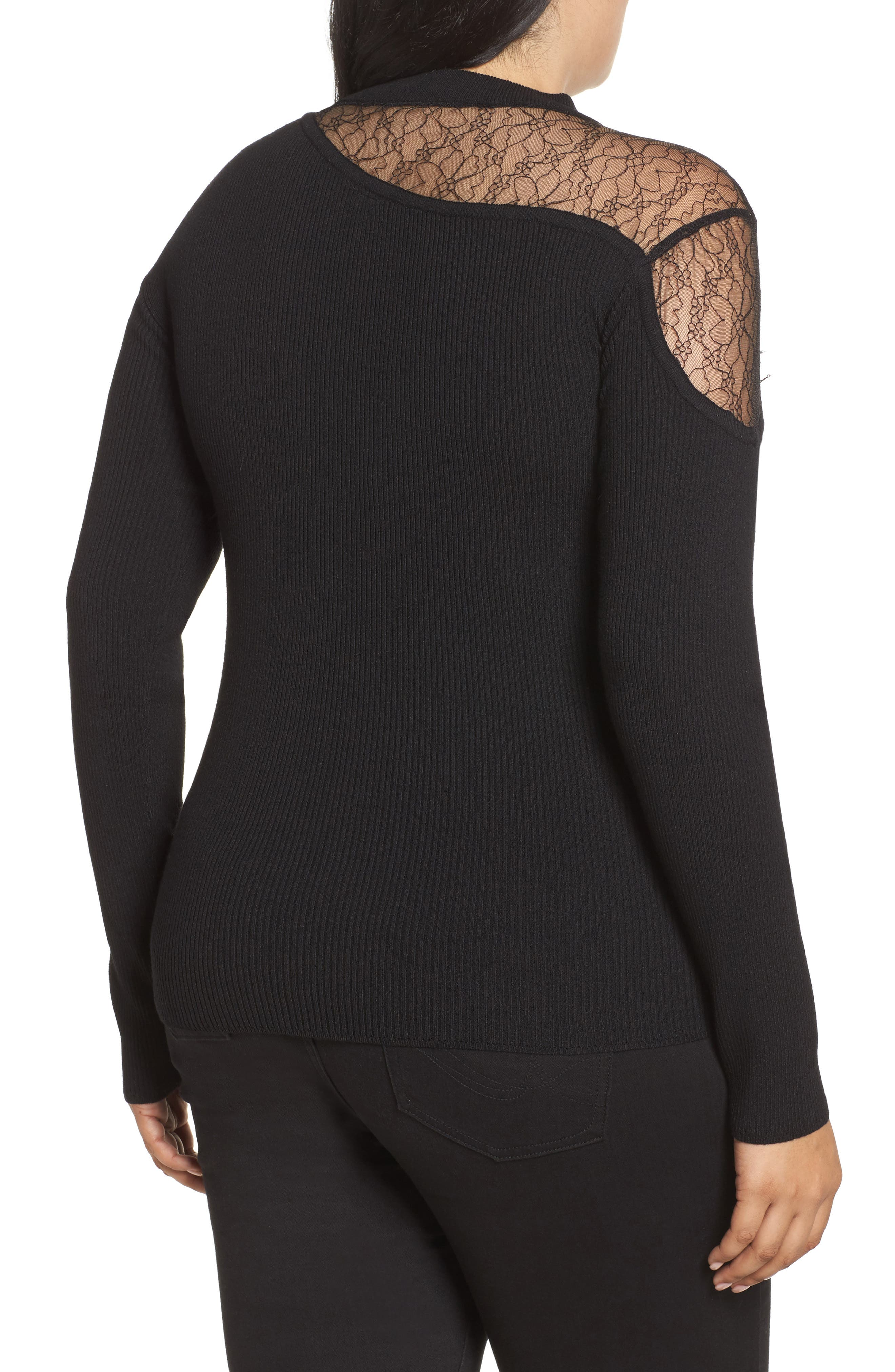 Lace Inset Ribbed Sweater,                             Alternate thumbnail 2, color,                             Black