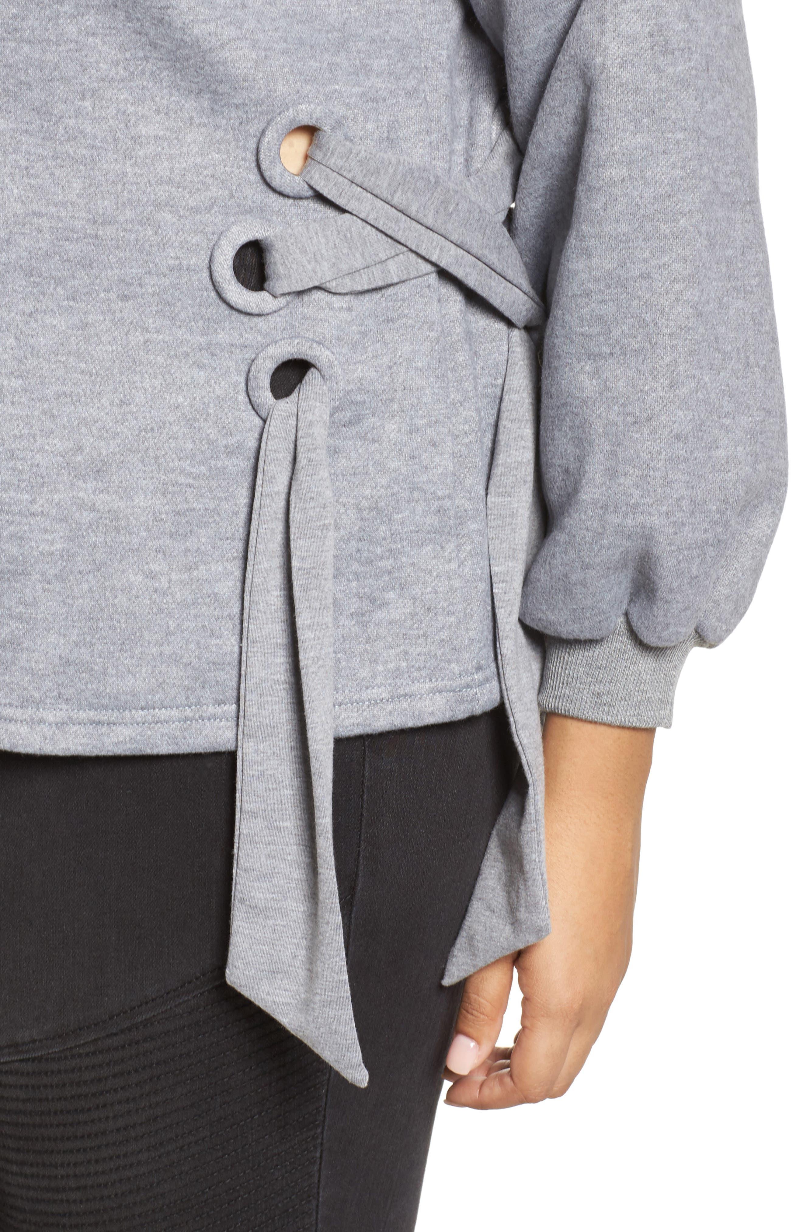 Side Tie Sweatshirt,                             Alternate thumbnail 4, color,                             Grey
