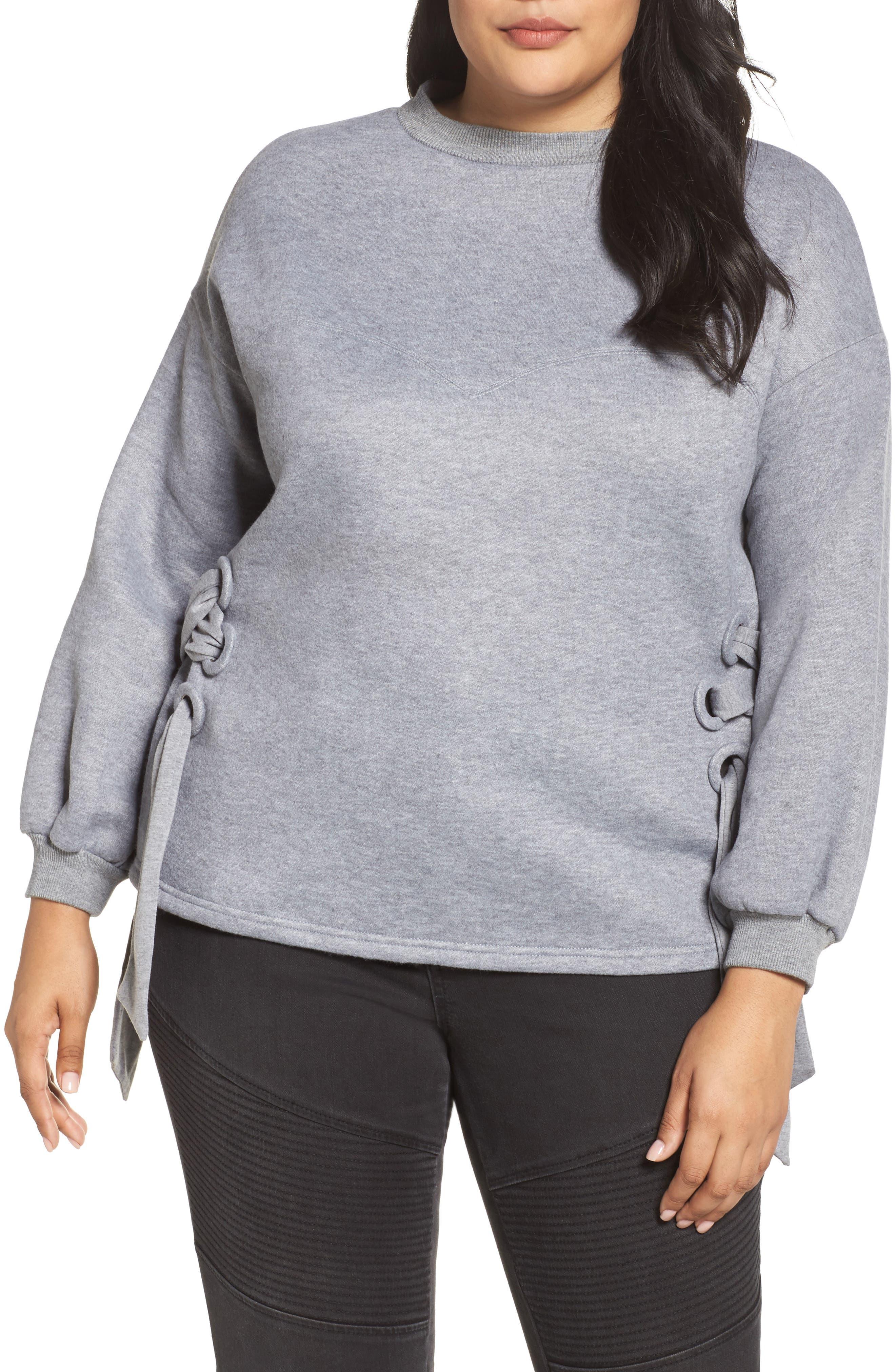 Side Tie Sweatshirt,                         Main,                         color, Grey