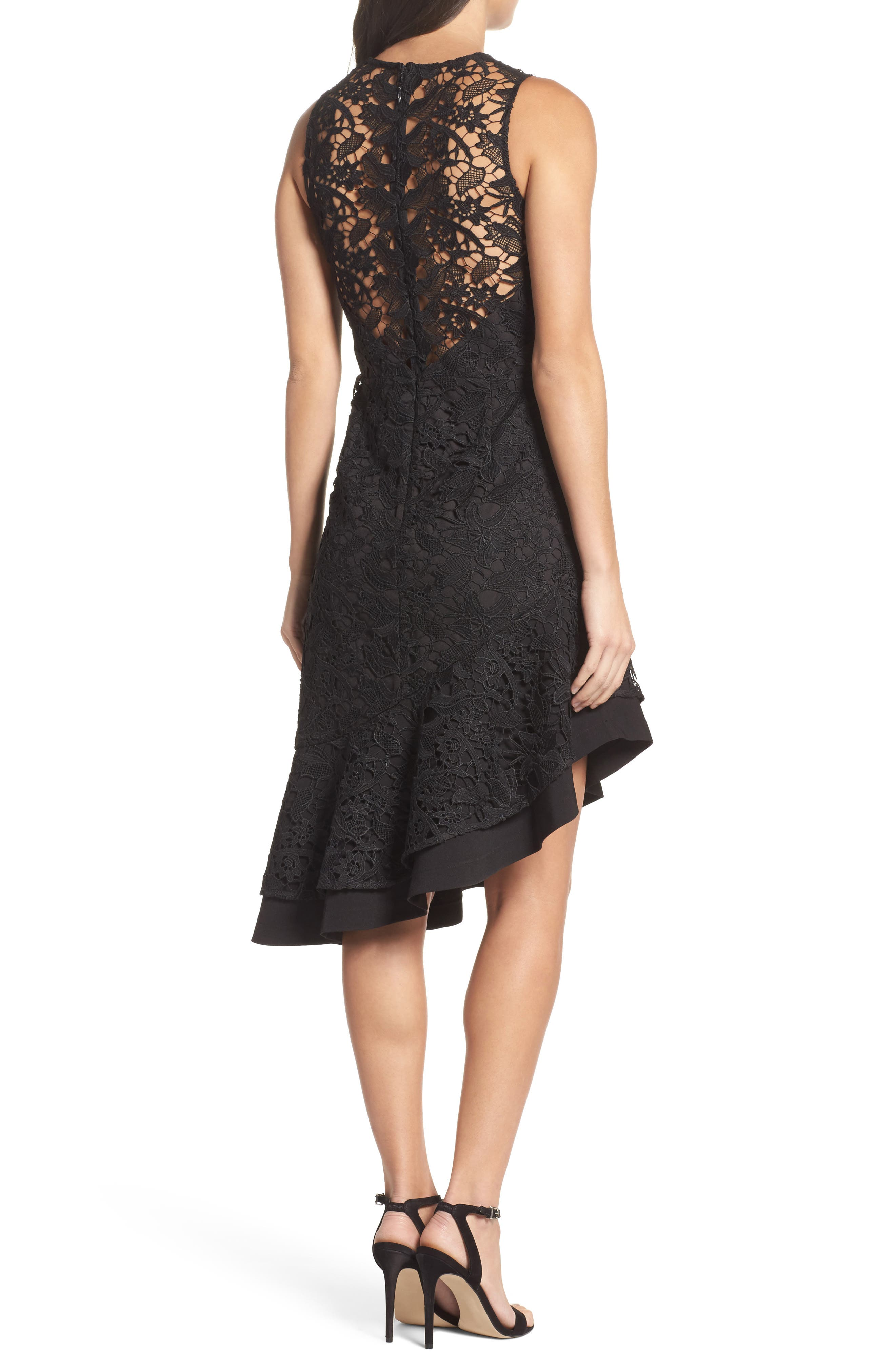Lace Asymmetrical Dress,                             Alternate thumbnail 2, color,                             Black