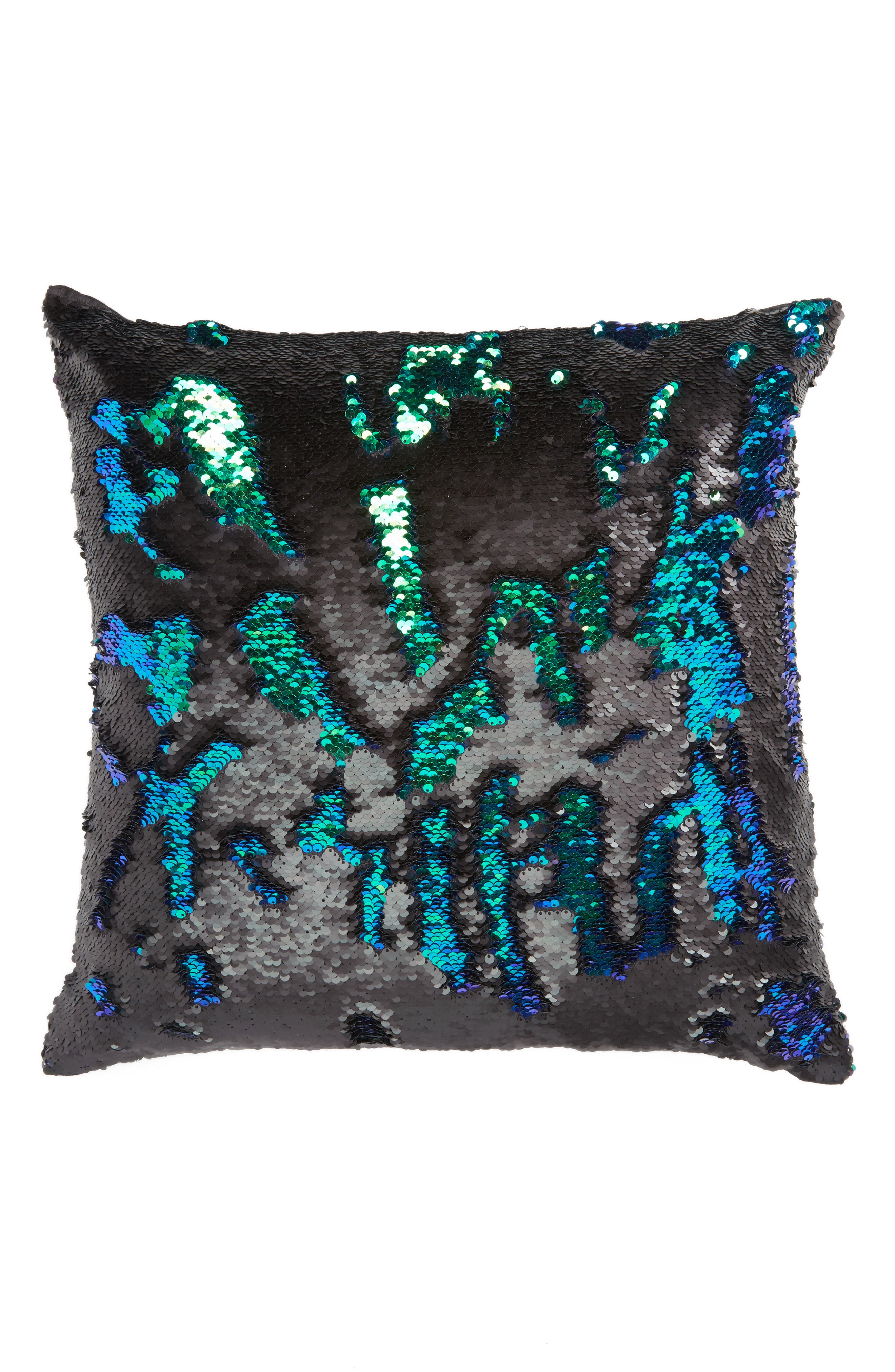 Sequin Pillow,                             Alternate thumbnail 2, color,                             Black