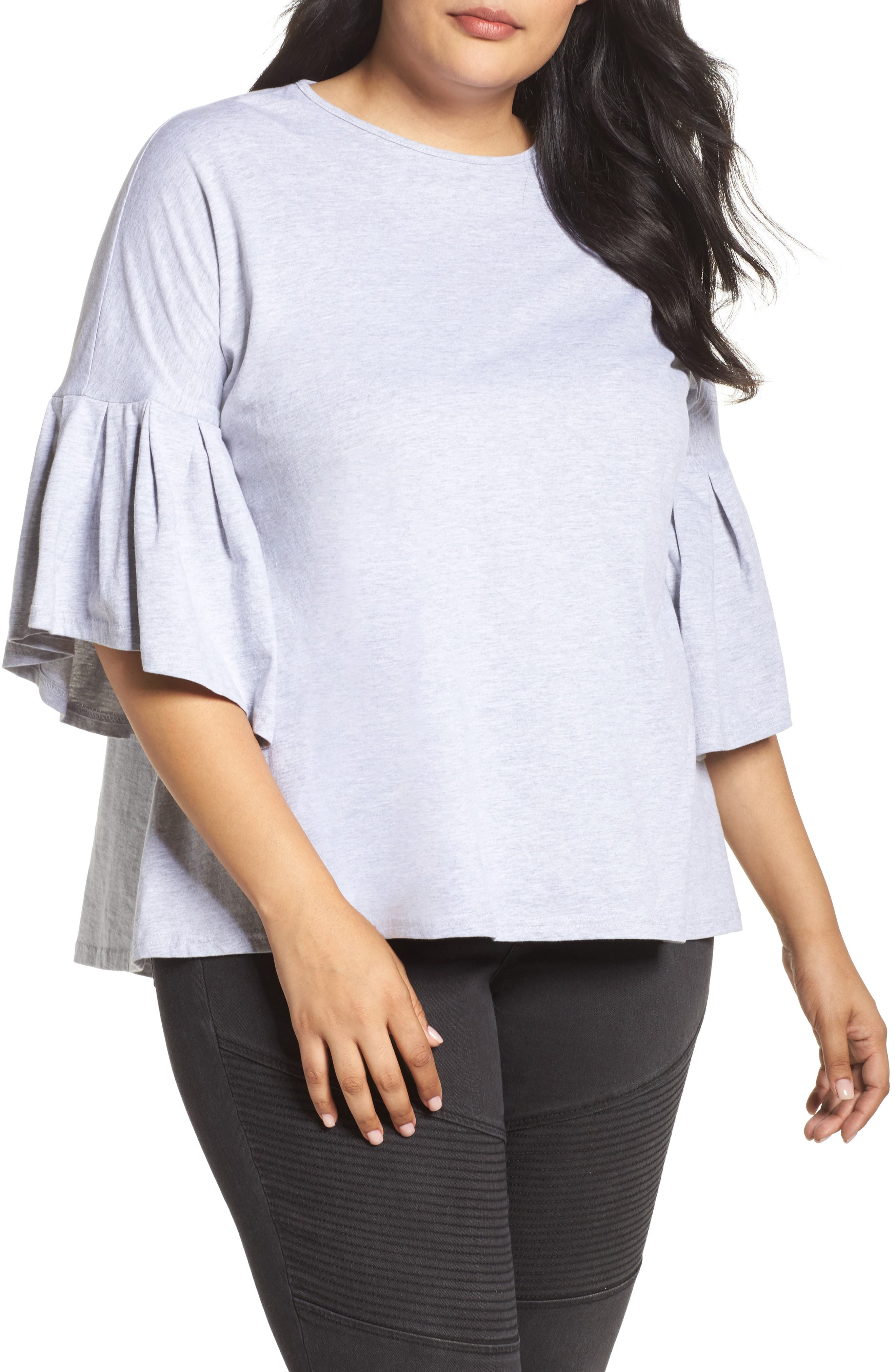 Main Image - LOST INK Bell Sleeve Cotton Blouse (Plus Size)