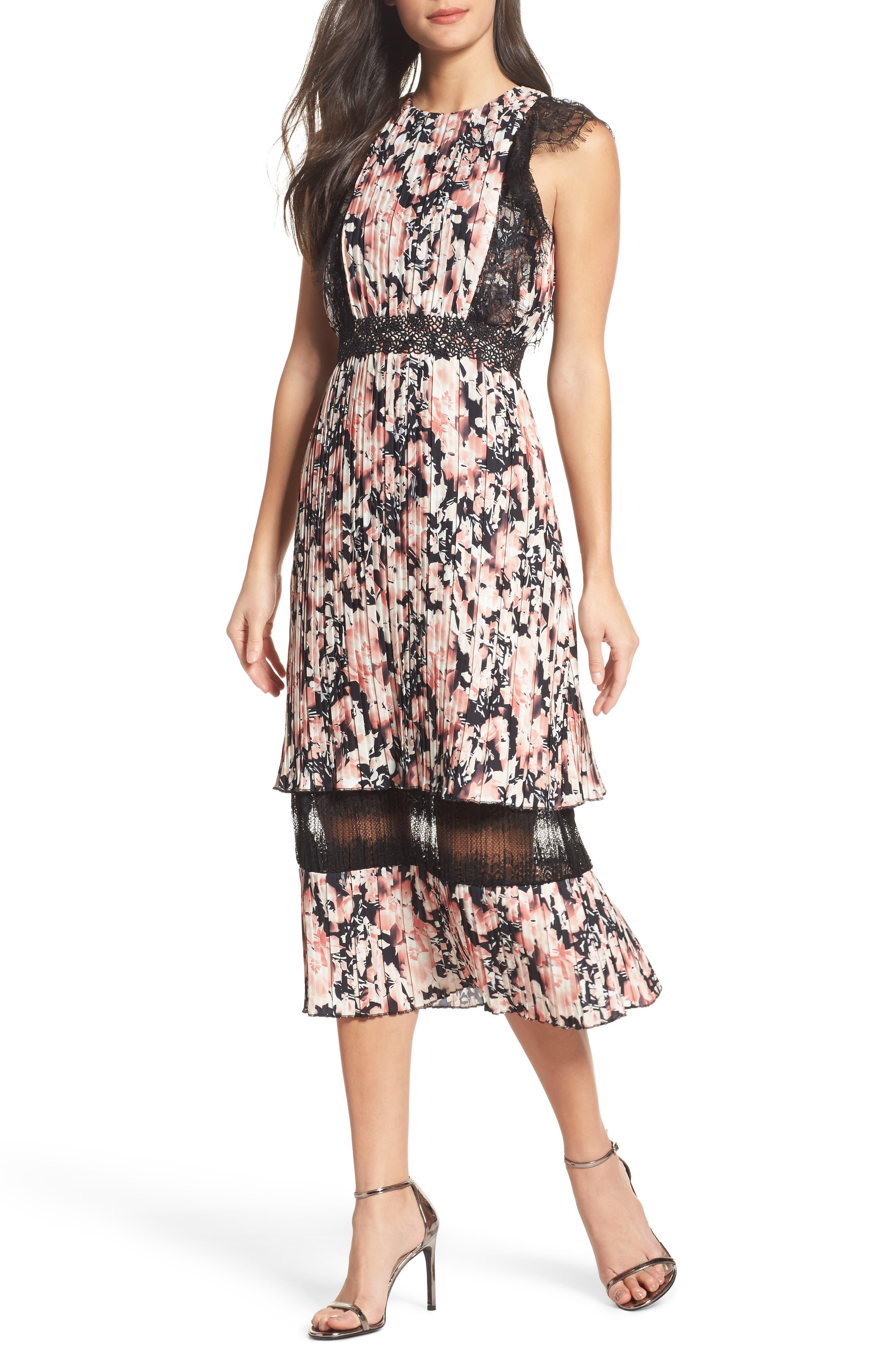 Main Image - Foxiedox Jasmine Lace Trim Pleated Floral Midi Dress