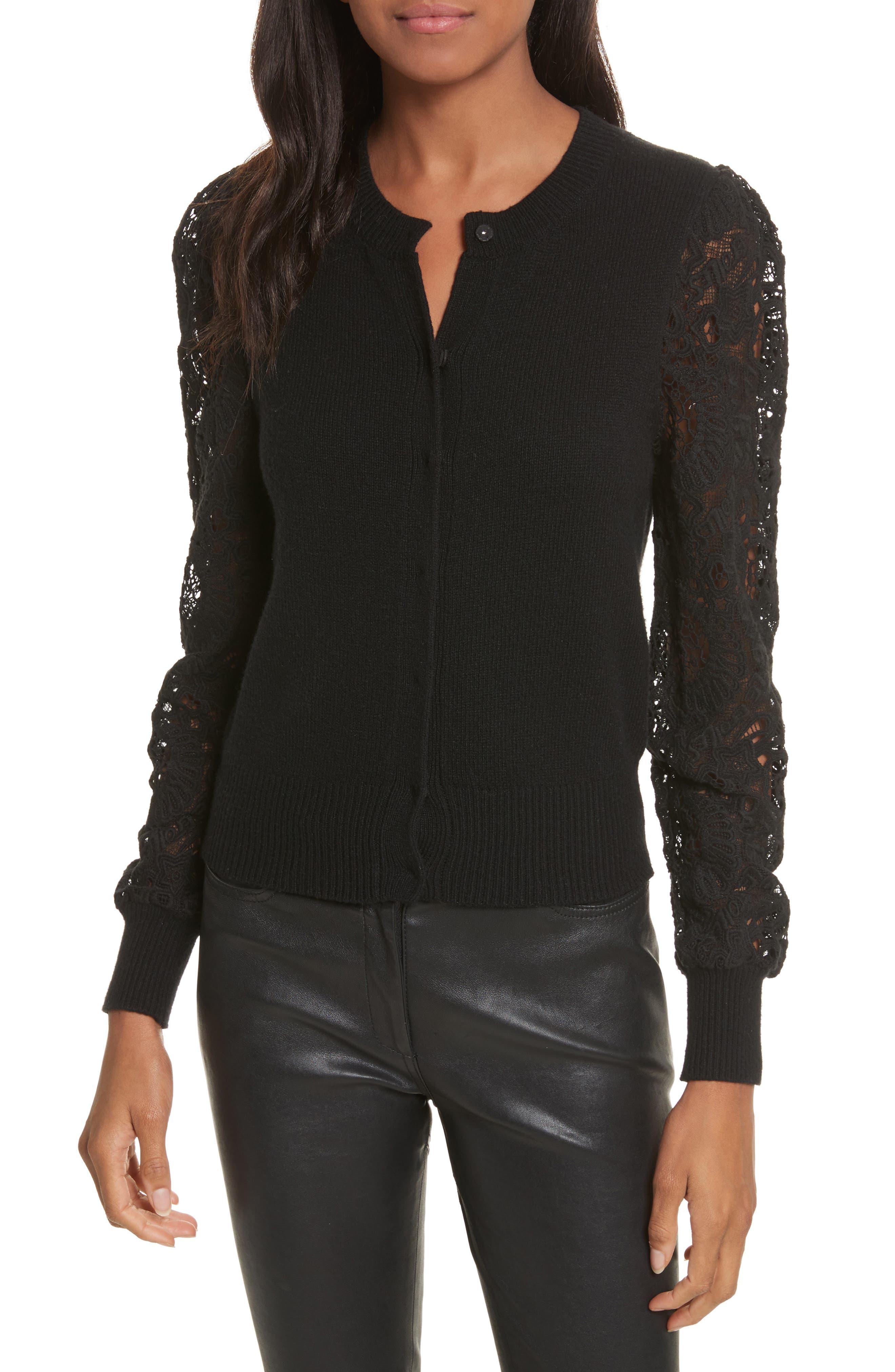 Lace Mix Cardigan,                         Main,                         color, Black