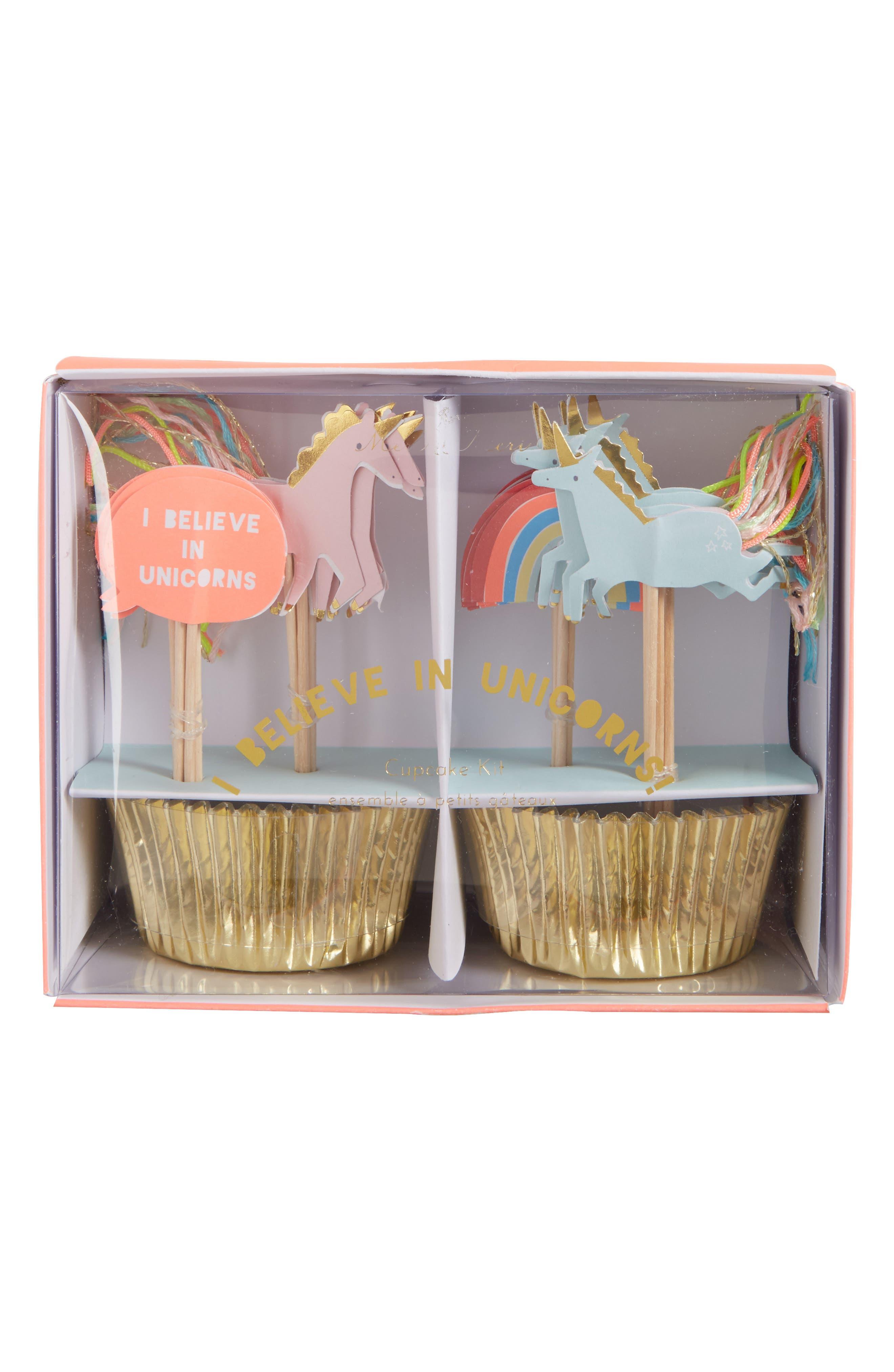 I Believe in Unicorns Cupcake Kit,                         Main,                         color, Gold Multi