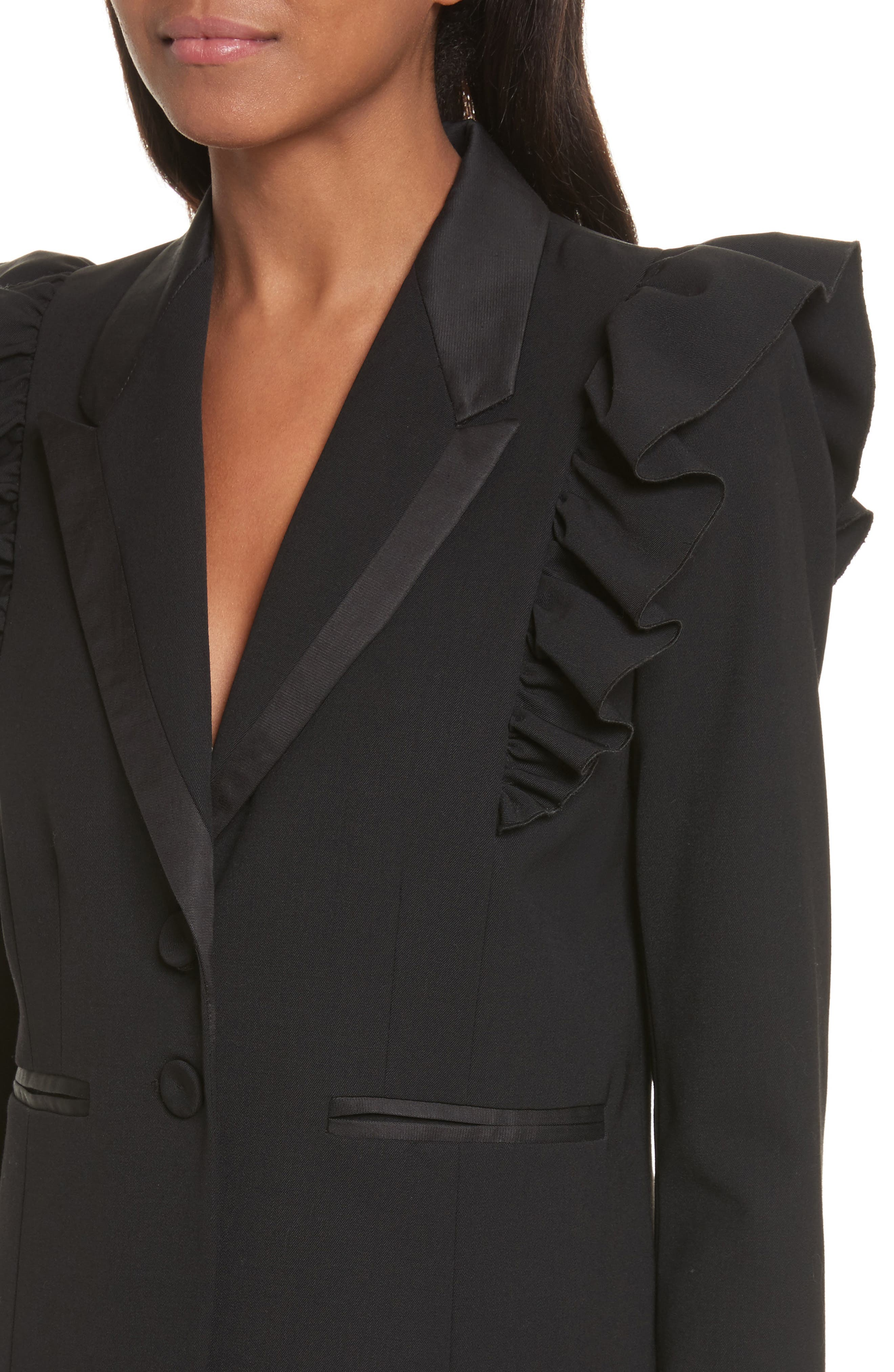 Ruffle Stretch Wool Jacket,                             Alternate thumbnail 4, color,                             Black