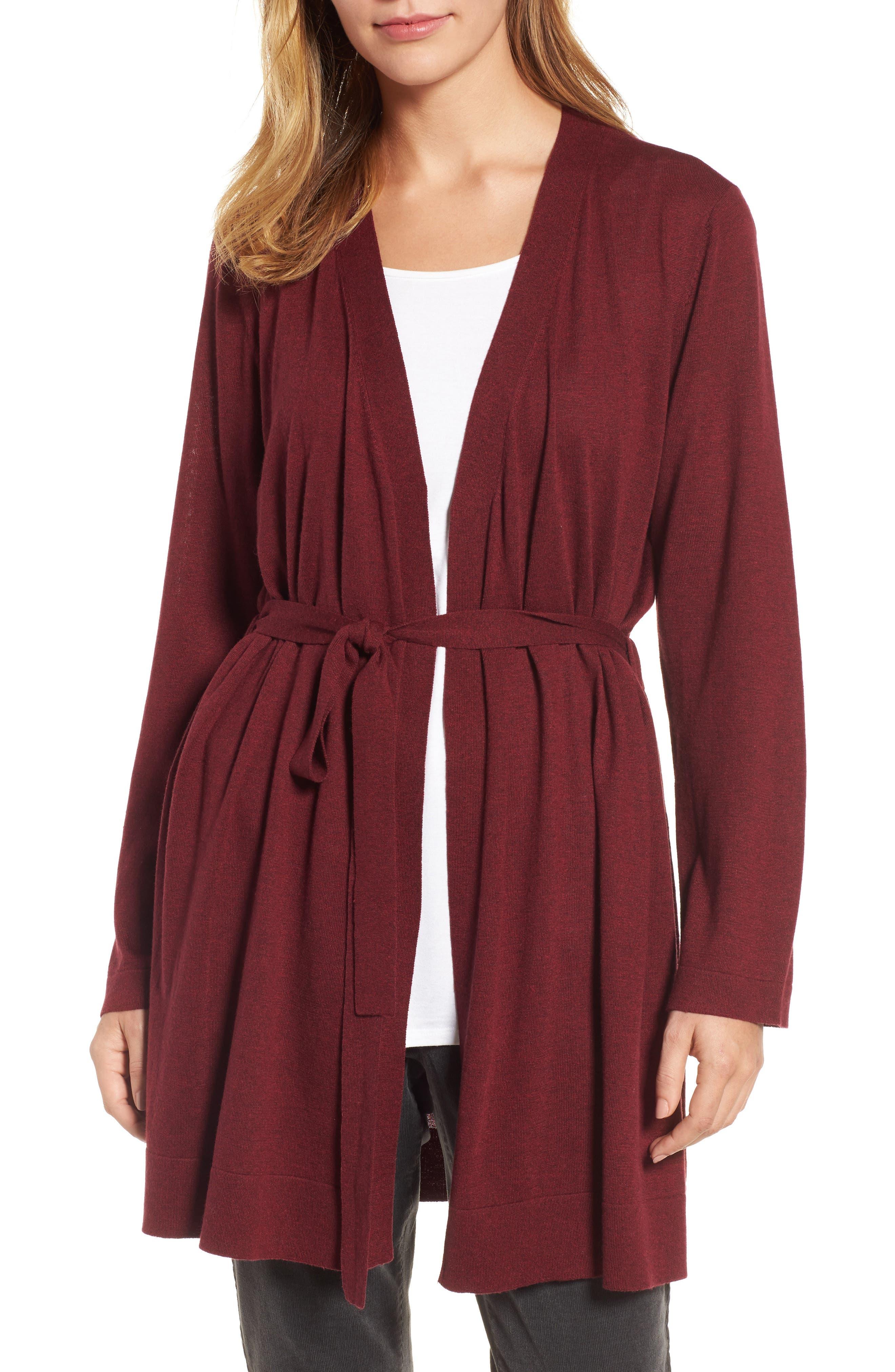 Eileen Fisher Tie Waist Tencel® Blend Cardigan (Regular & Petite)