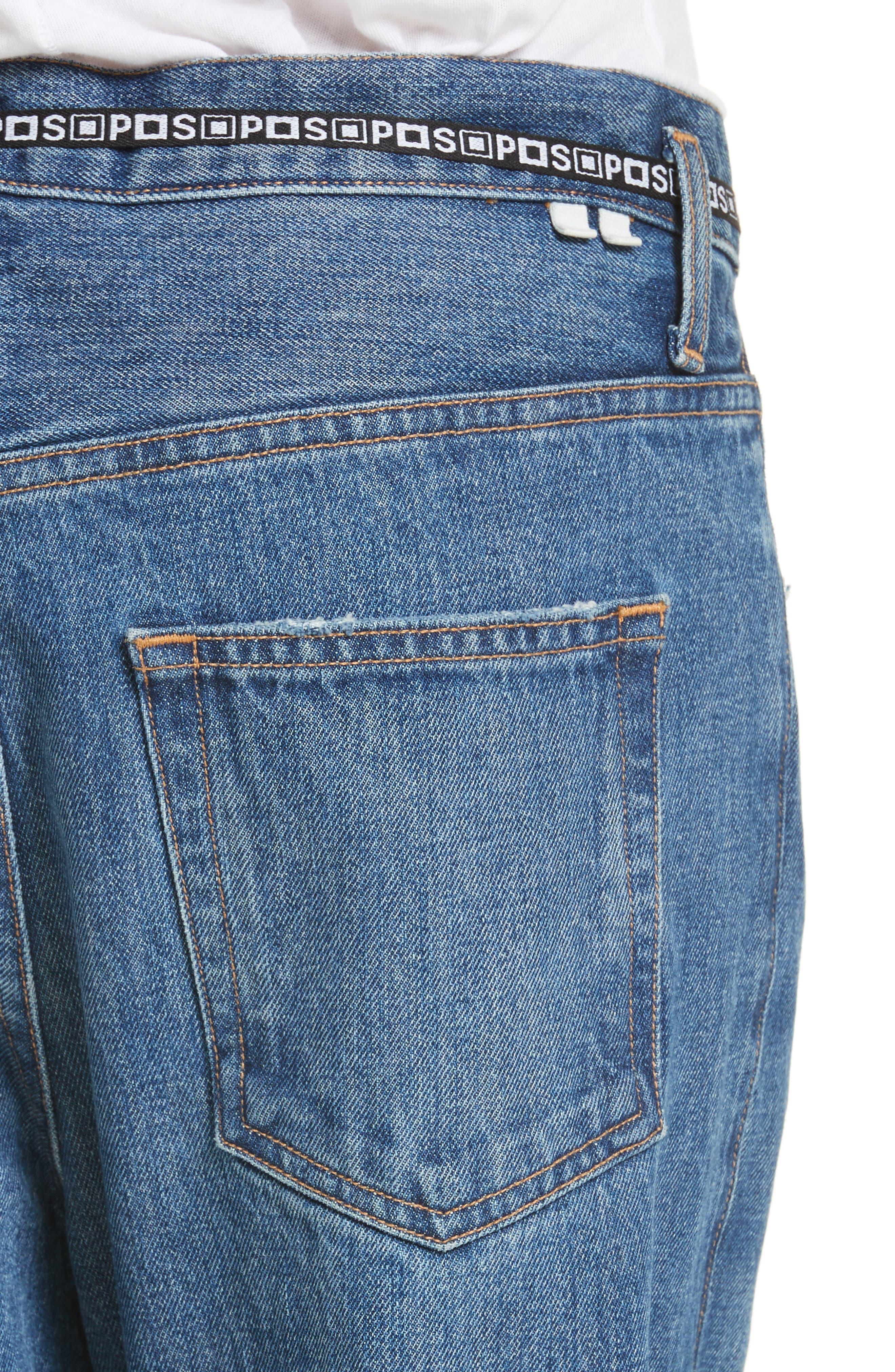 PSWL Cuffed Straight Leg Jeans,                             Alternate thumbnail 6, color,                             Medium Blue
