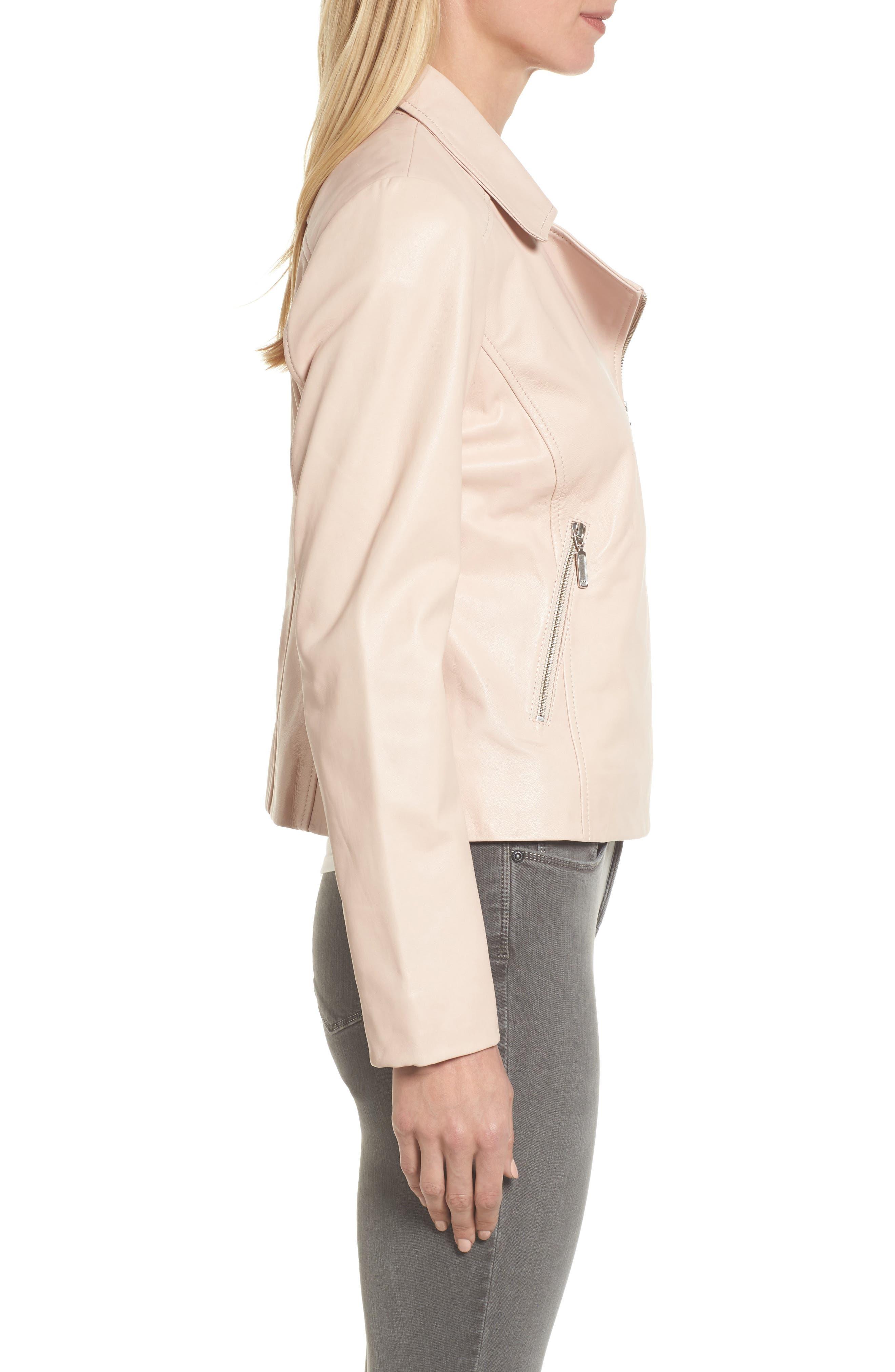 Alternate Image 3  - Halogen® Leather Moto Jacket (Regular & Petite)