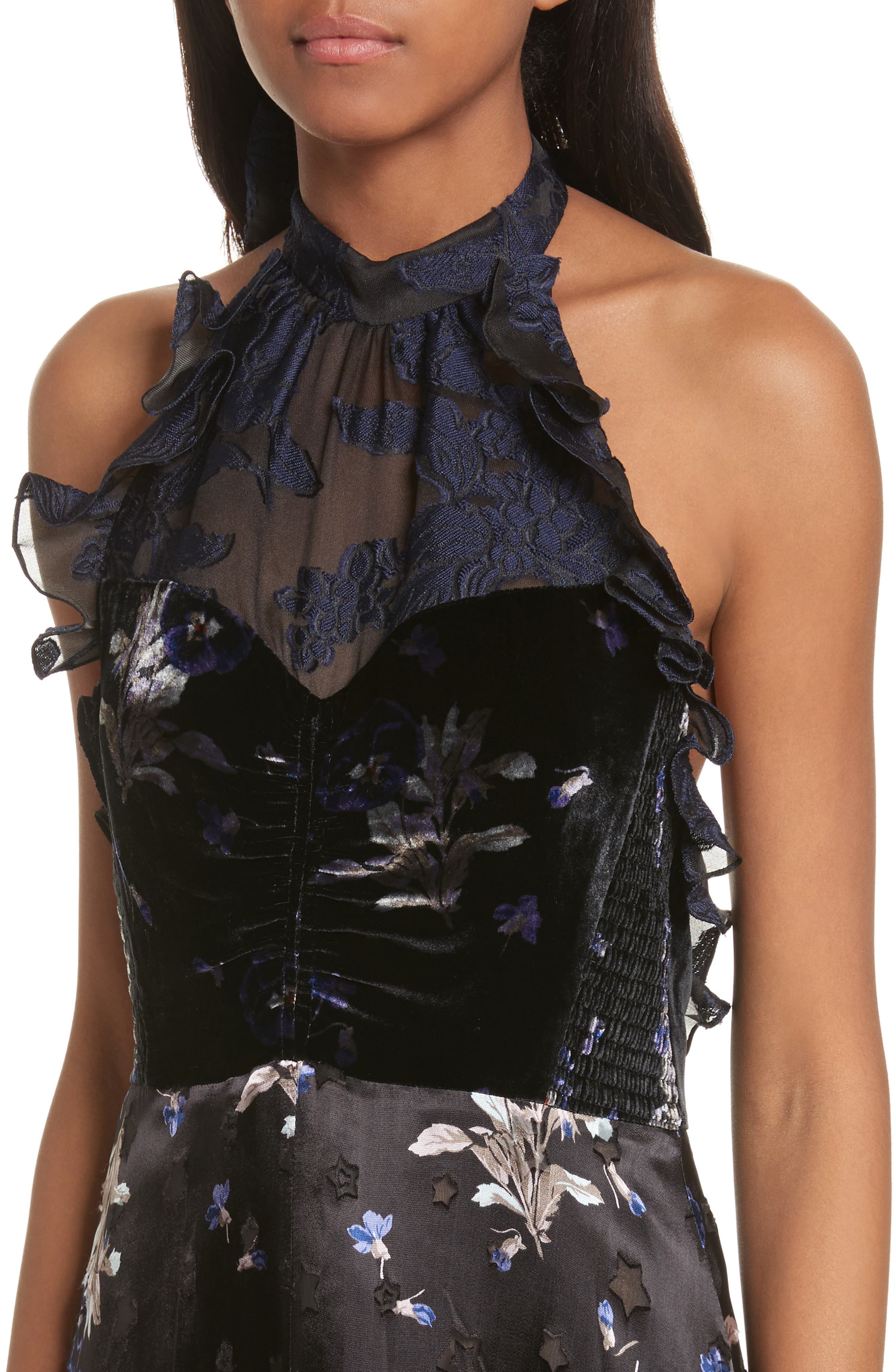 Violet Velvet Halter Dress,                             Alternate thumbnail 4, color,                             Black Combo