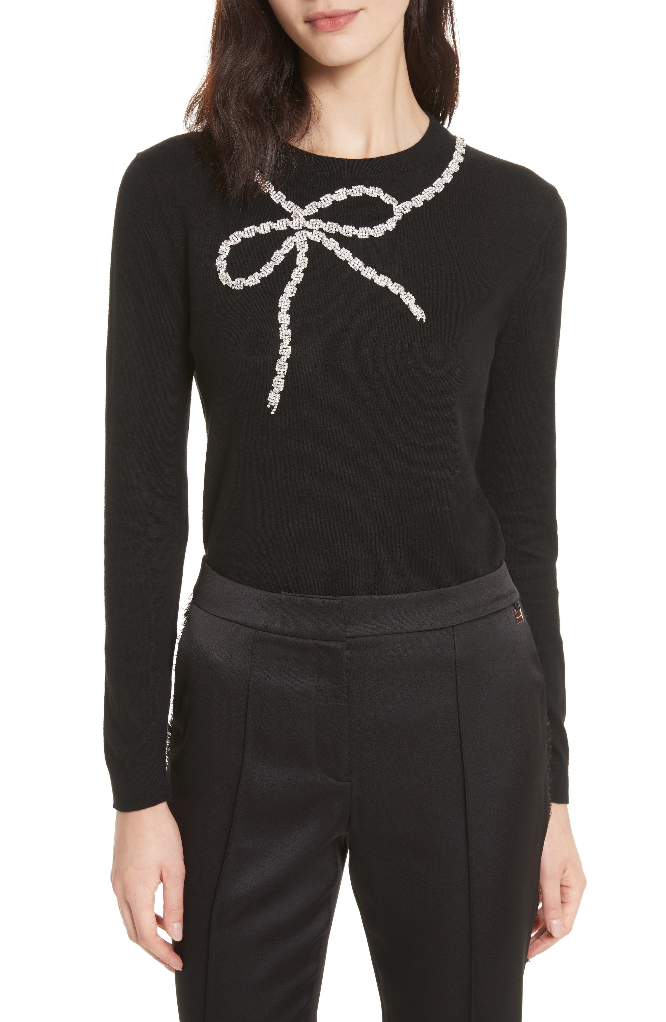 Sparkle Bow Sweater,                         Main,                         color, Black