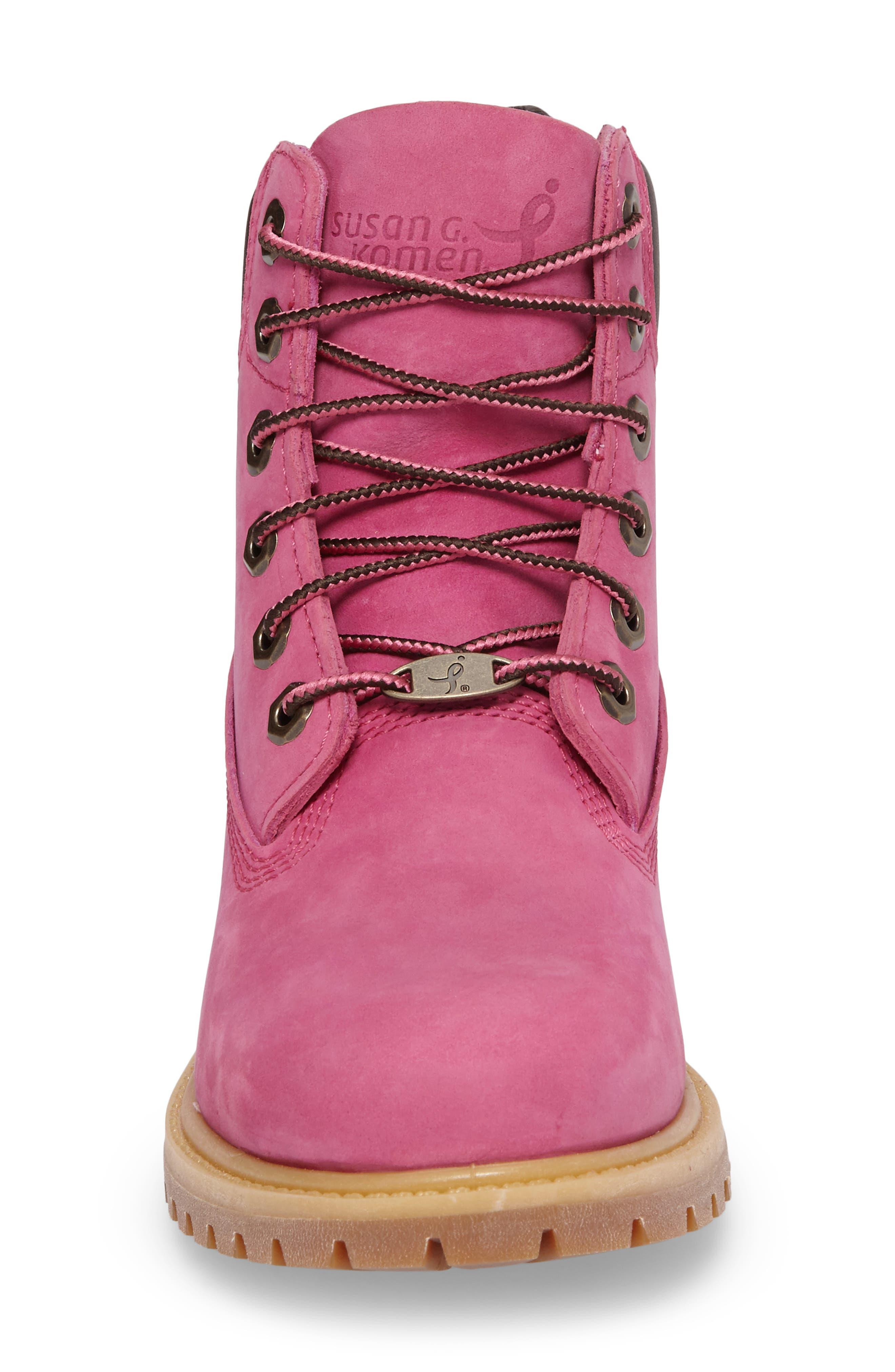 x Susan G. Komen 6-Inch Waterproof Insulated Boot,                             Alternate thumbnail 4, color,                             Bright Pink Nubuck