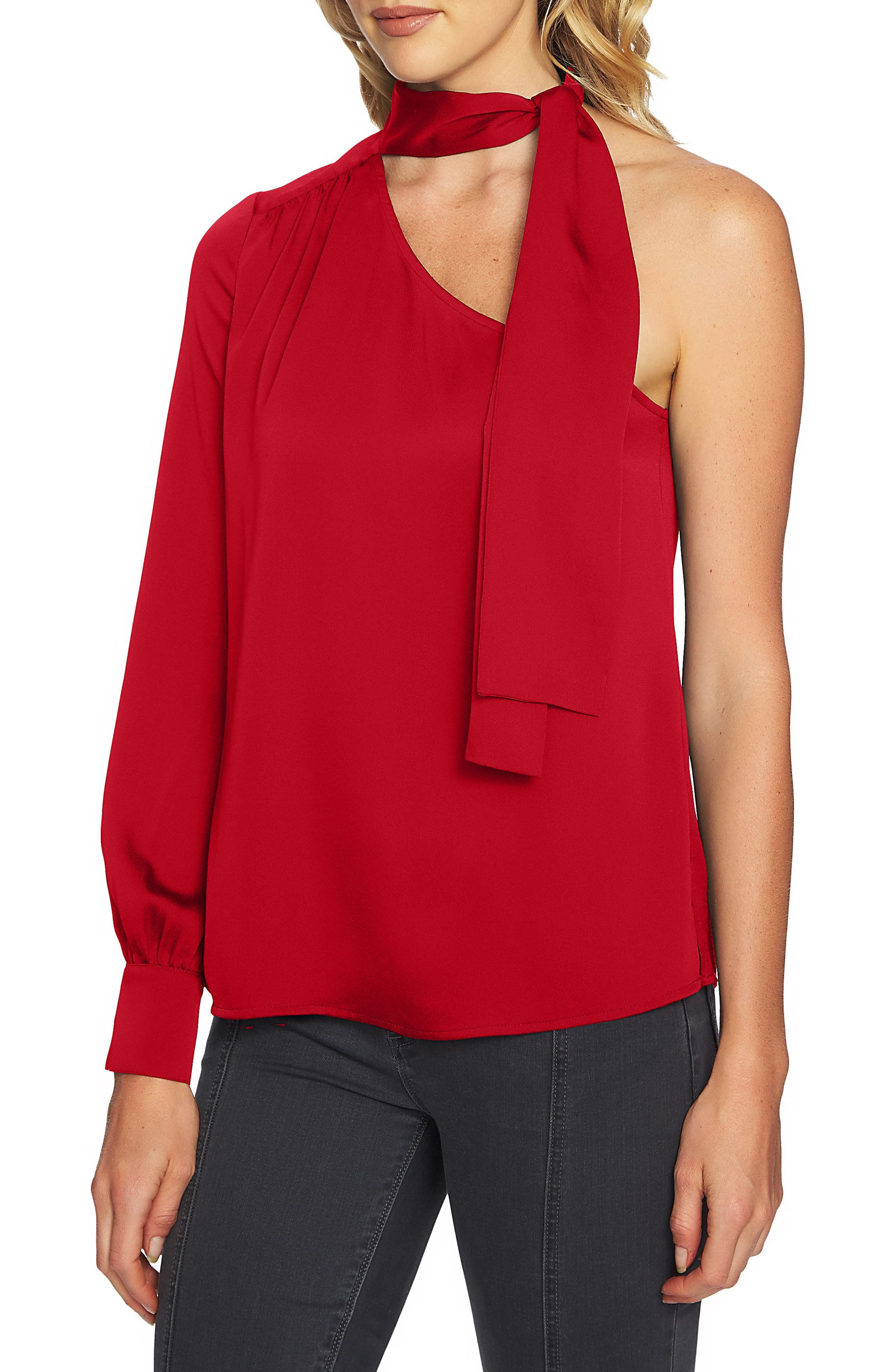 Tie Neck One-Shoulder Top,                         Main,                         color, Persian Red